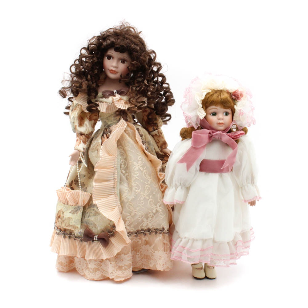 Two Victorian Style Porcelain Dolls