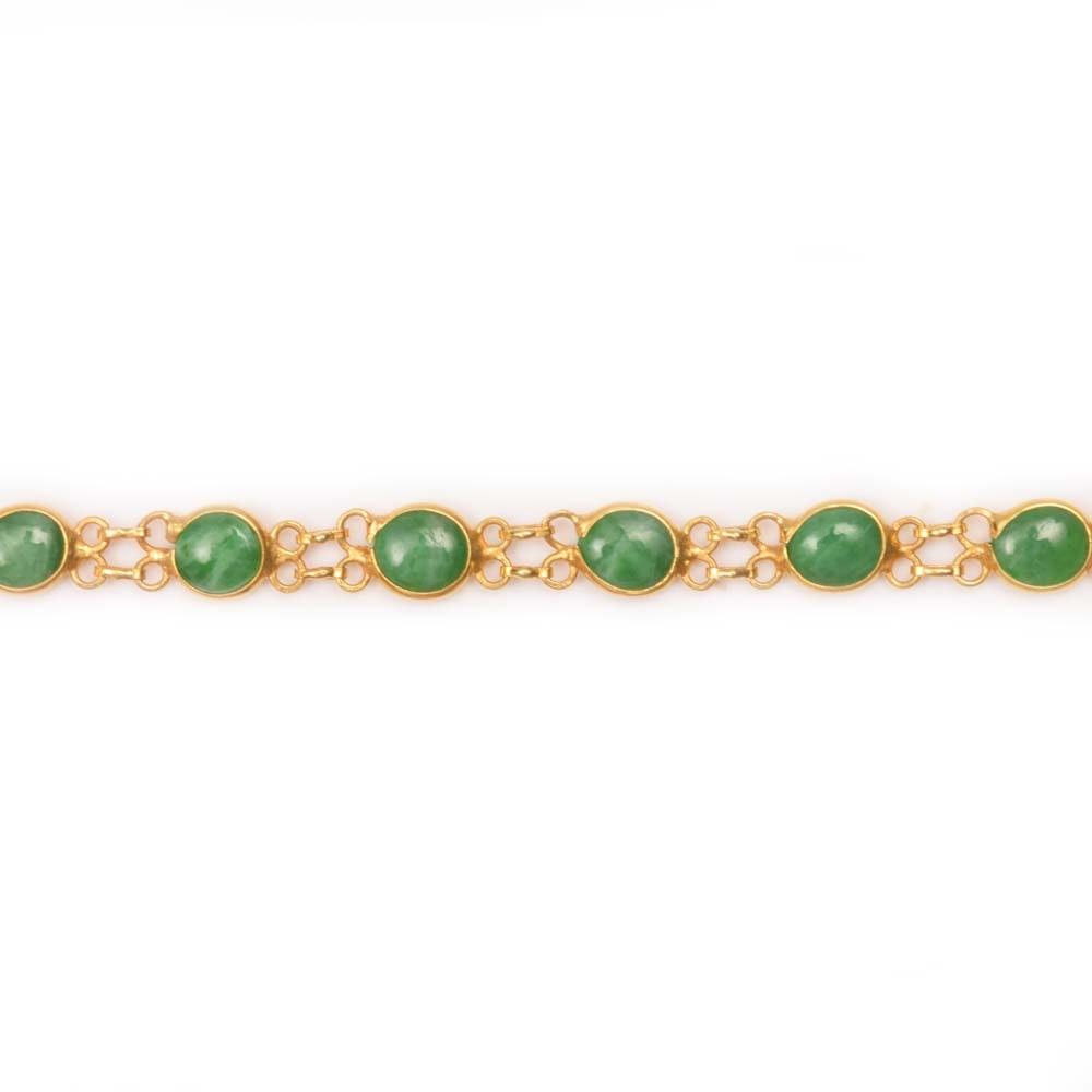 18K Yellow Gold and 4.56 CTW Jadeite Station Bracelet