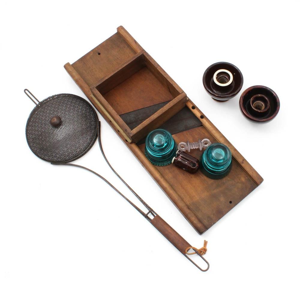 Vintage Collectibles Including Mandolin, Glass Insulators