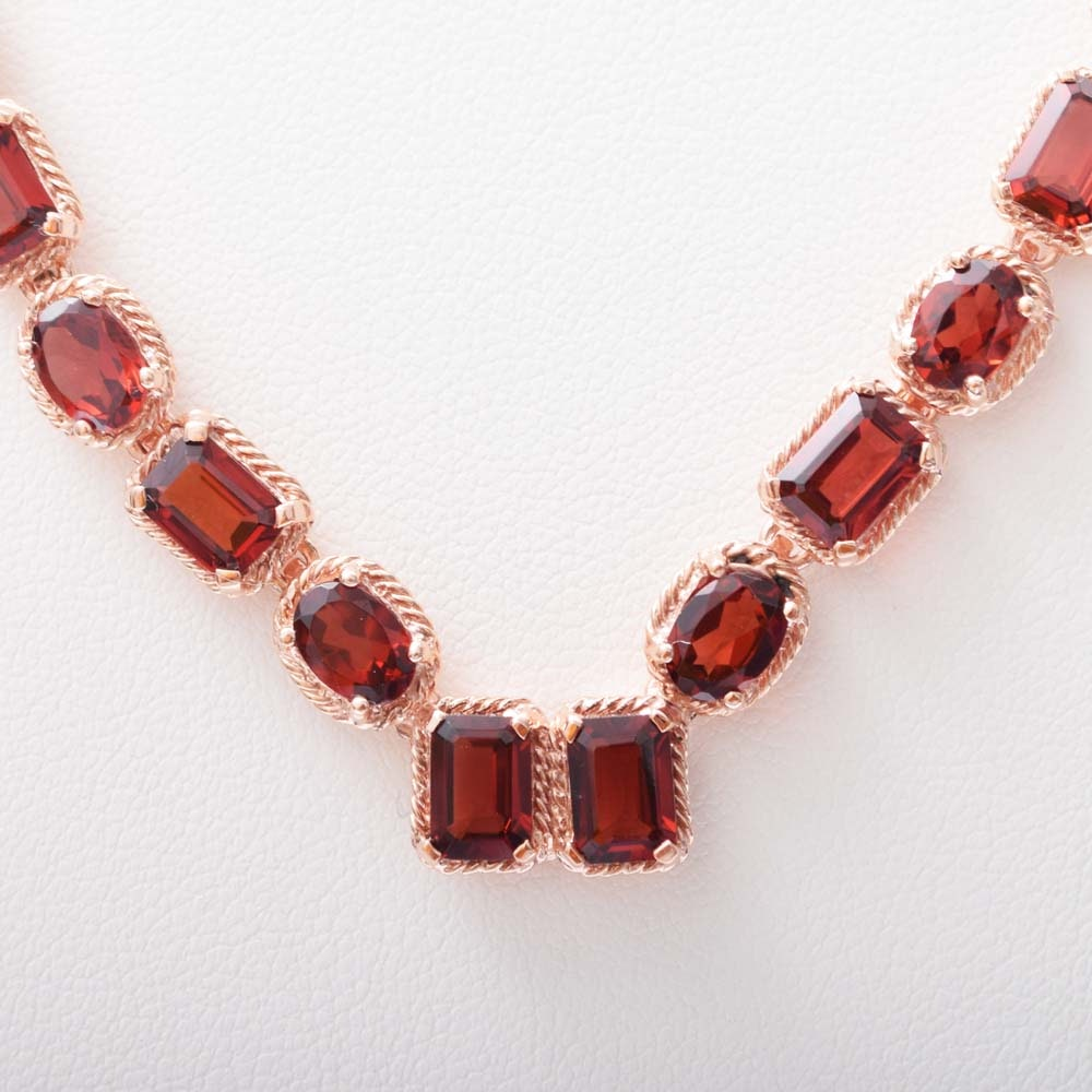 Sterling Silver With Rose Gold Wash and 29.30 CTW Garnet Necklace