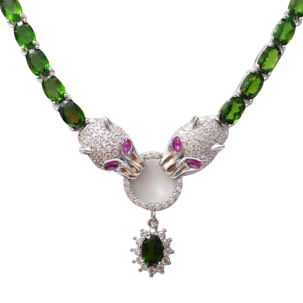Sterling Silver and 10.00 CTW Chrome Diopside Panther Head Necklace