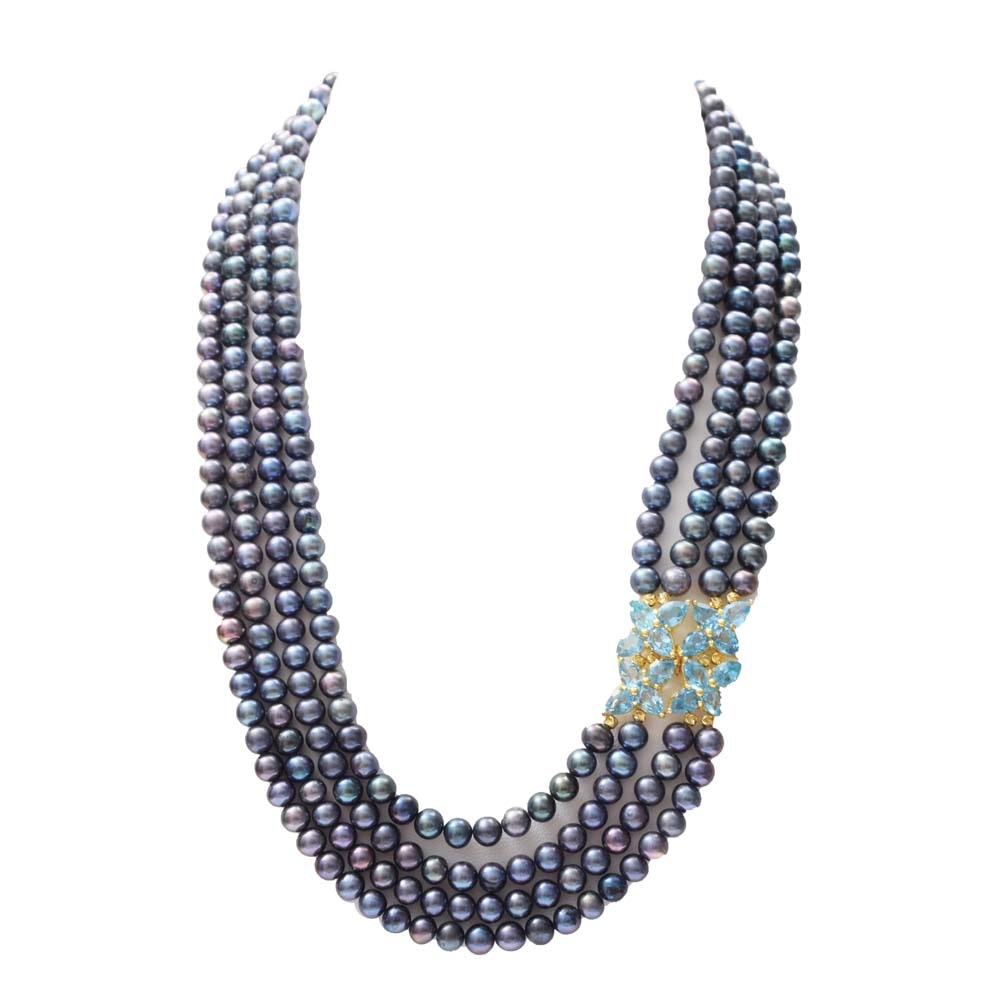 Sterling Silver, Freshwater Pearl, 12.80 CTW Blue Topaz and Sapphire Necklace