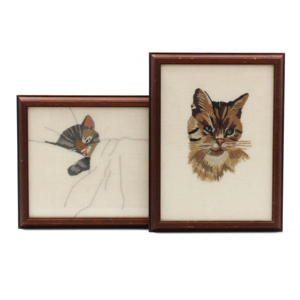 Crewelwork Embroideries of Cats