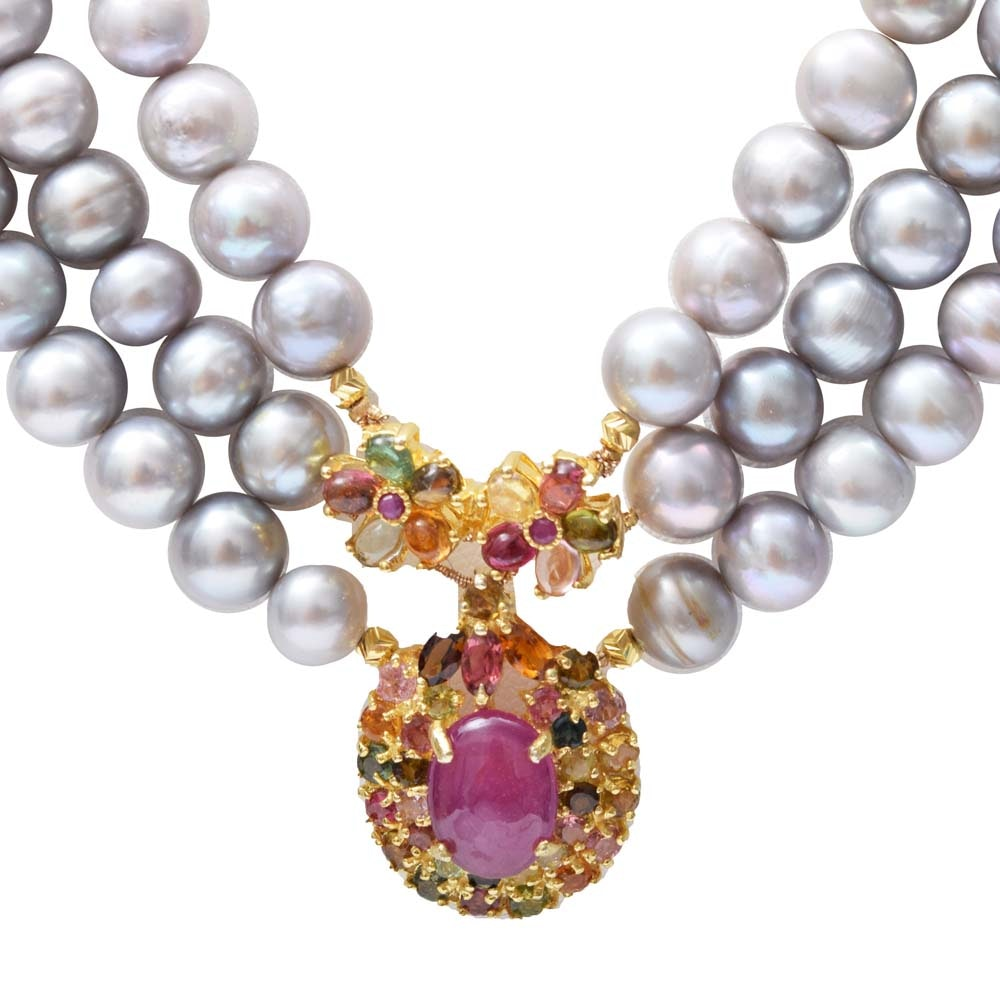 Sterling Silver, Freshwater Pearl, 5.65 CTW Ruby, and Tourmaline Necklace