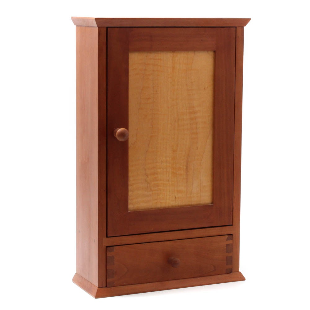Shaker Style Artisan Handcrafted Cherry and Figured Maple Cabinet