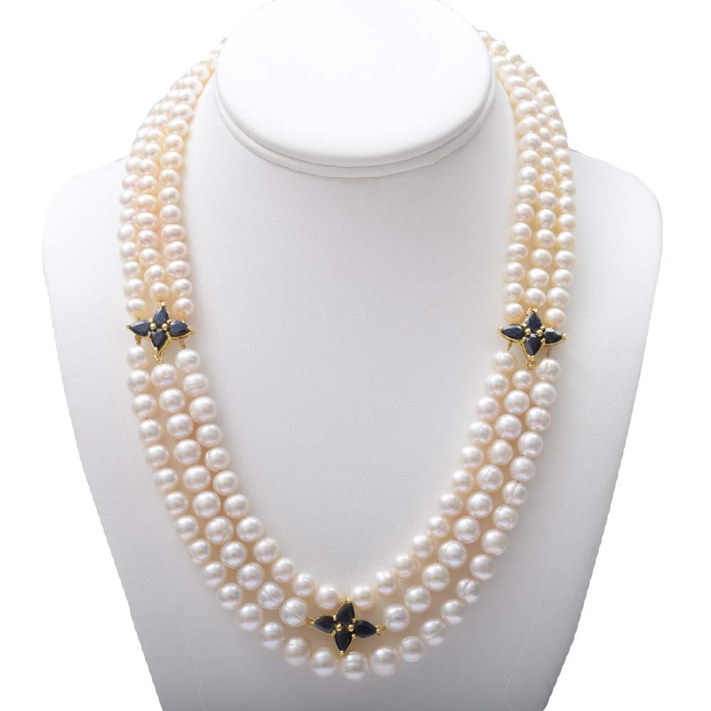 Sterling Silver, Freshwater Pearl and 10.76 CTW Sapphire Drape Necklace