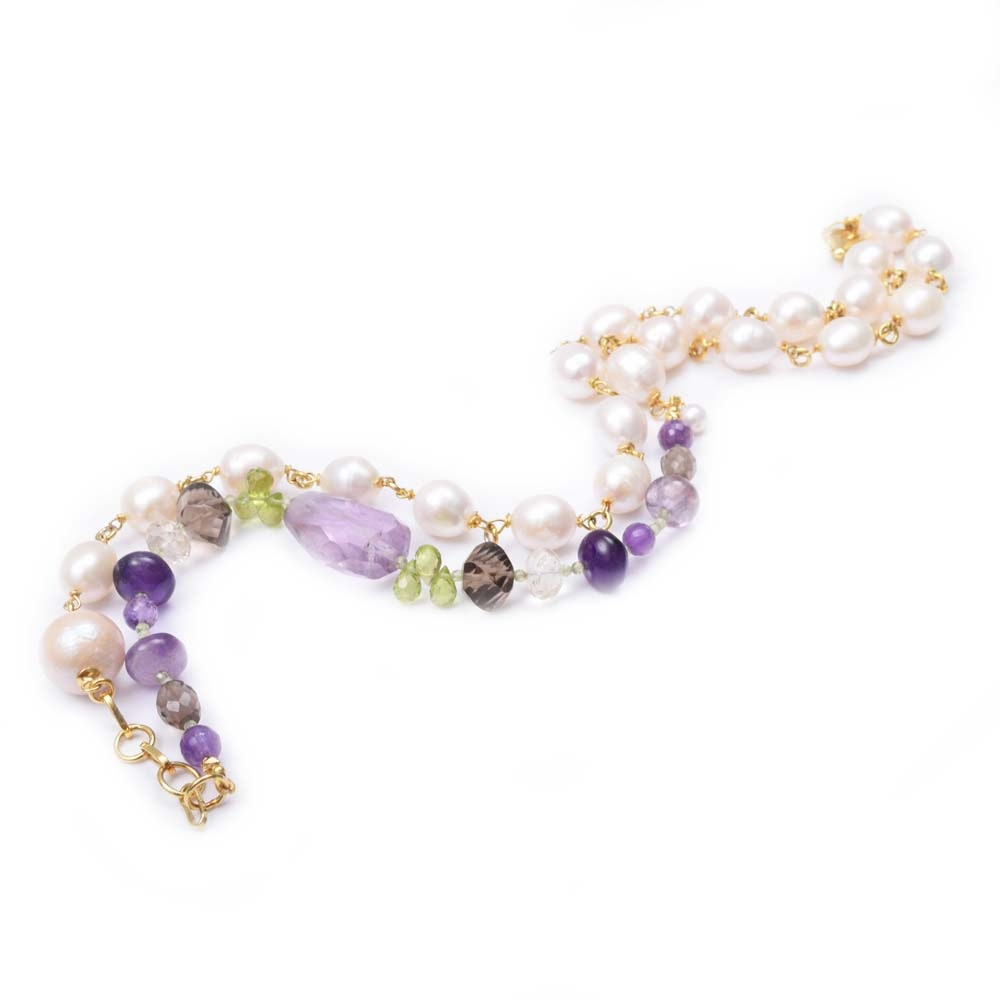 Sterling Silver, Freshwater Pearl and Multi - Gemstone Bead Necklace