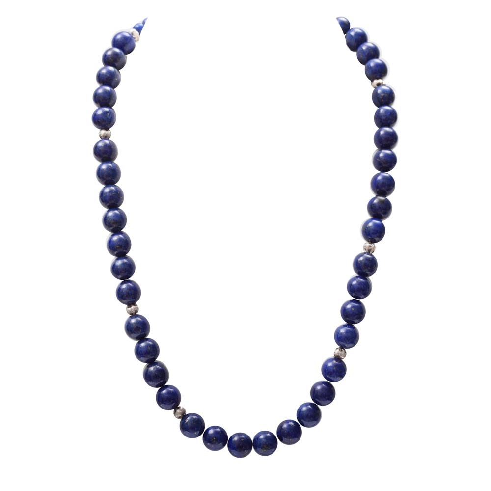 Sterling Silver and Lapis Lazuli Bead Necklace