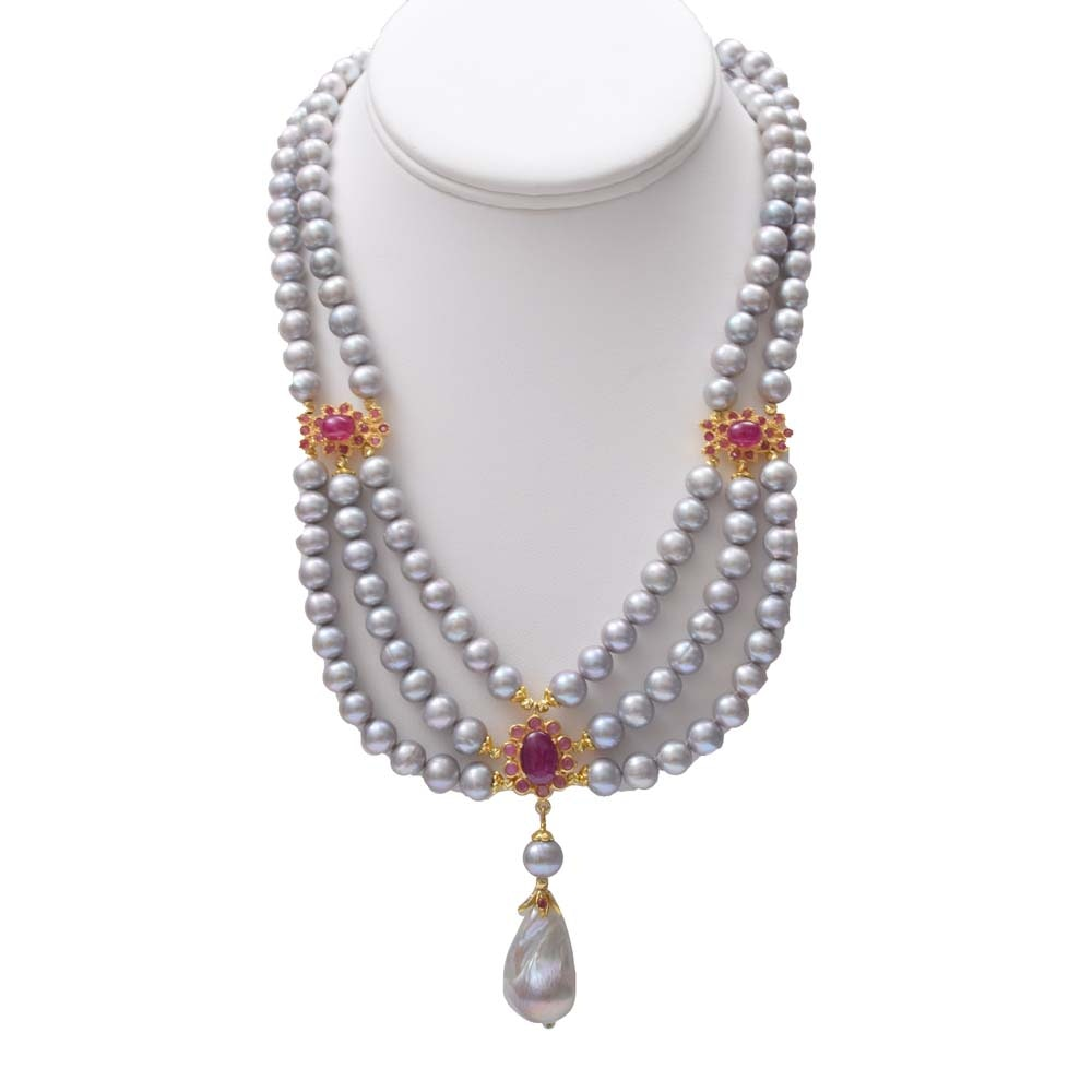 Sterling Silver, Freshwater Pearl and 11.23 CTW Ruby Double Strand Necklace
