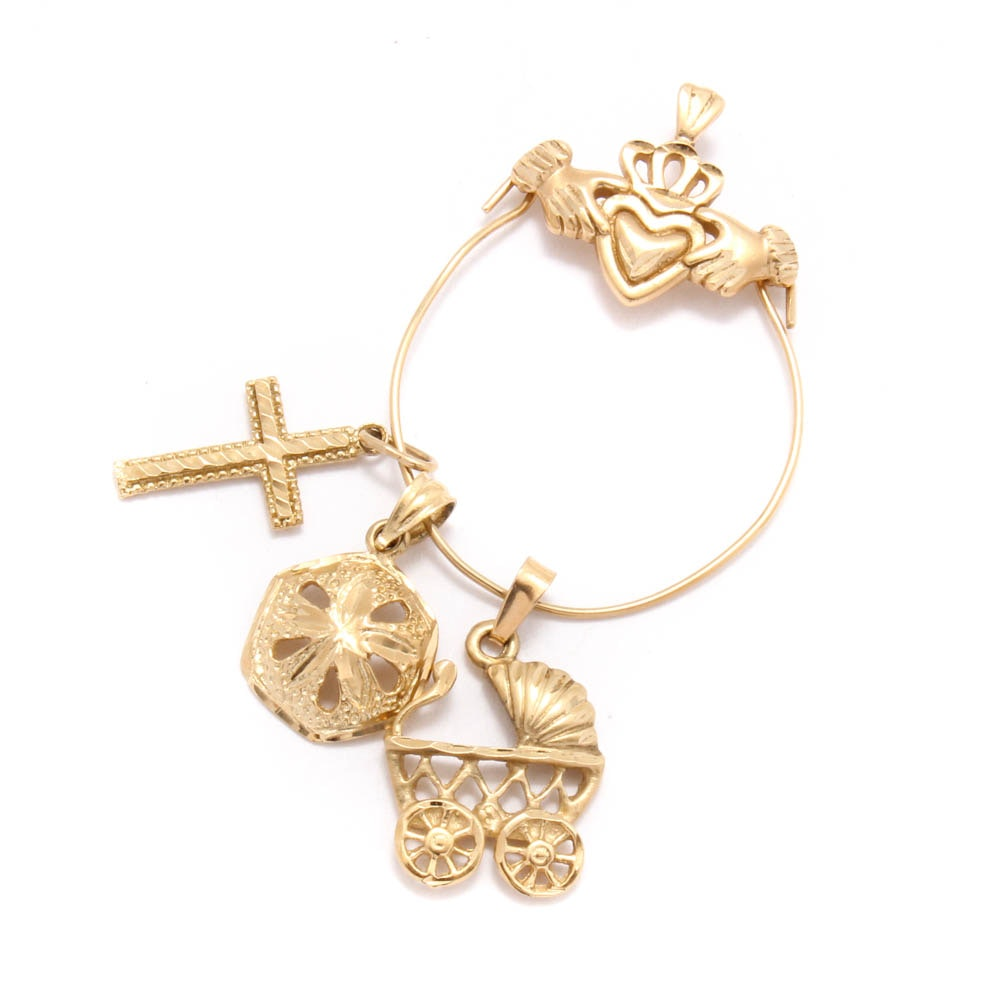 14K Yellow Gold Pendant with Charms