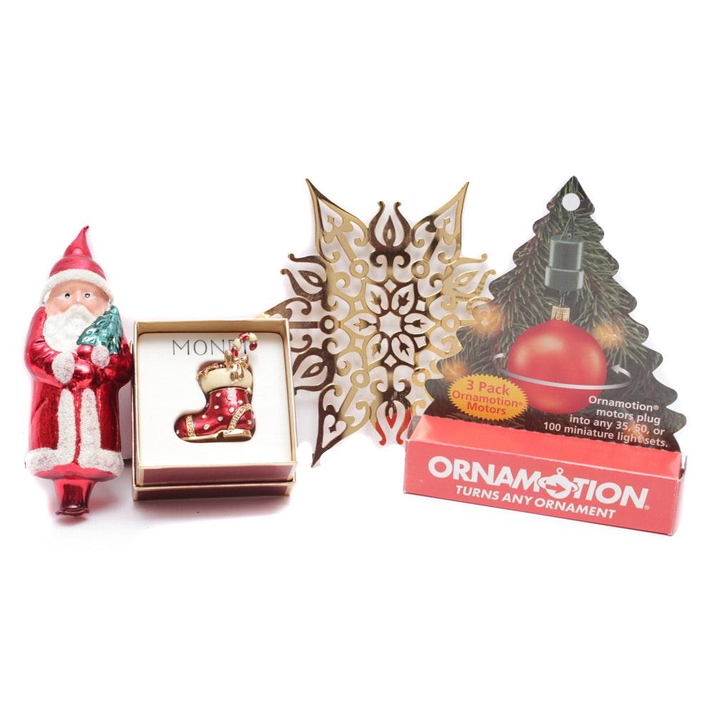 Christmas Ornaments with Monet Enameled Shoe
