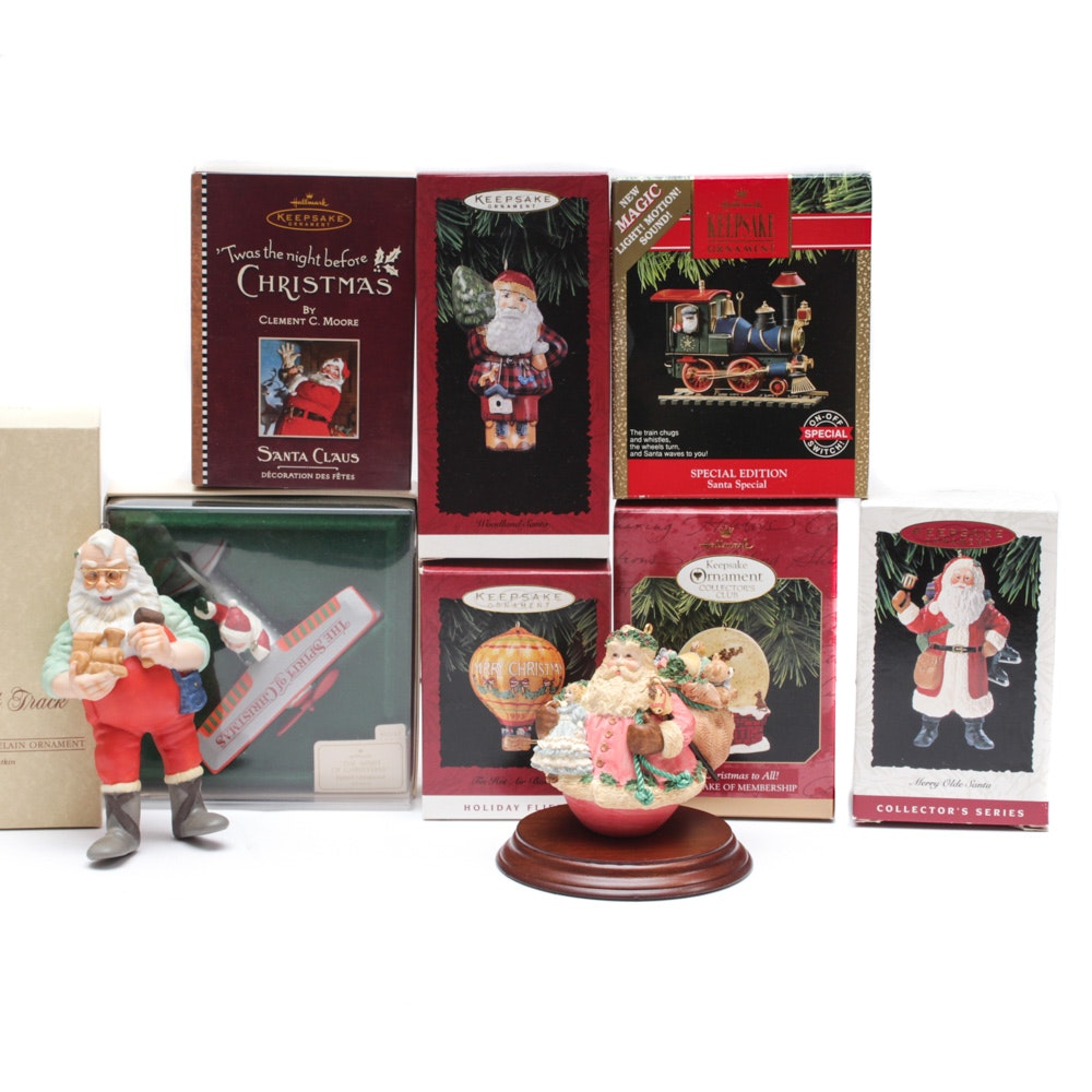 """Hallmark Ornaments with """"On the Right Track"""" and """"Jolly Holly Santa"""""""