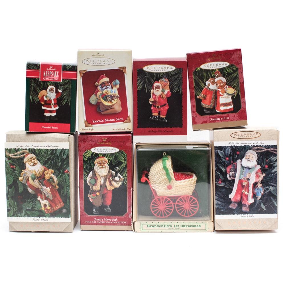 Hallmark Ornaments with Folk Art Santas