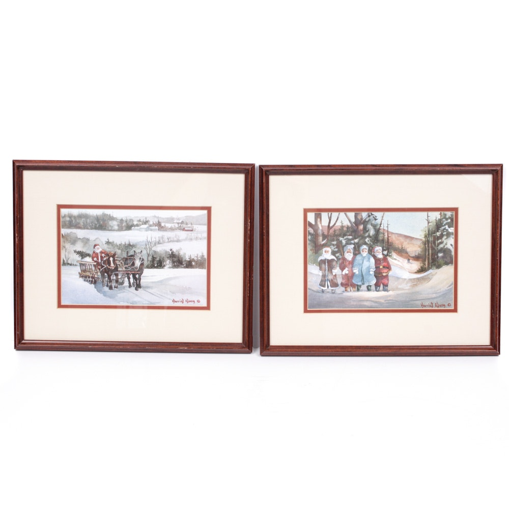 Offset Lithographs after Christmas Scenes by Harriet Elson