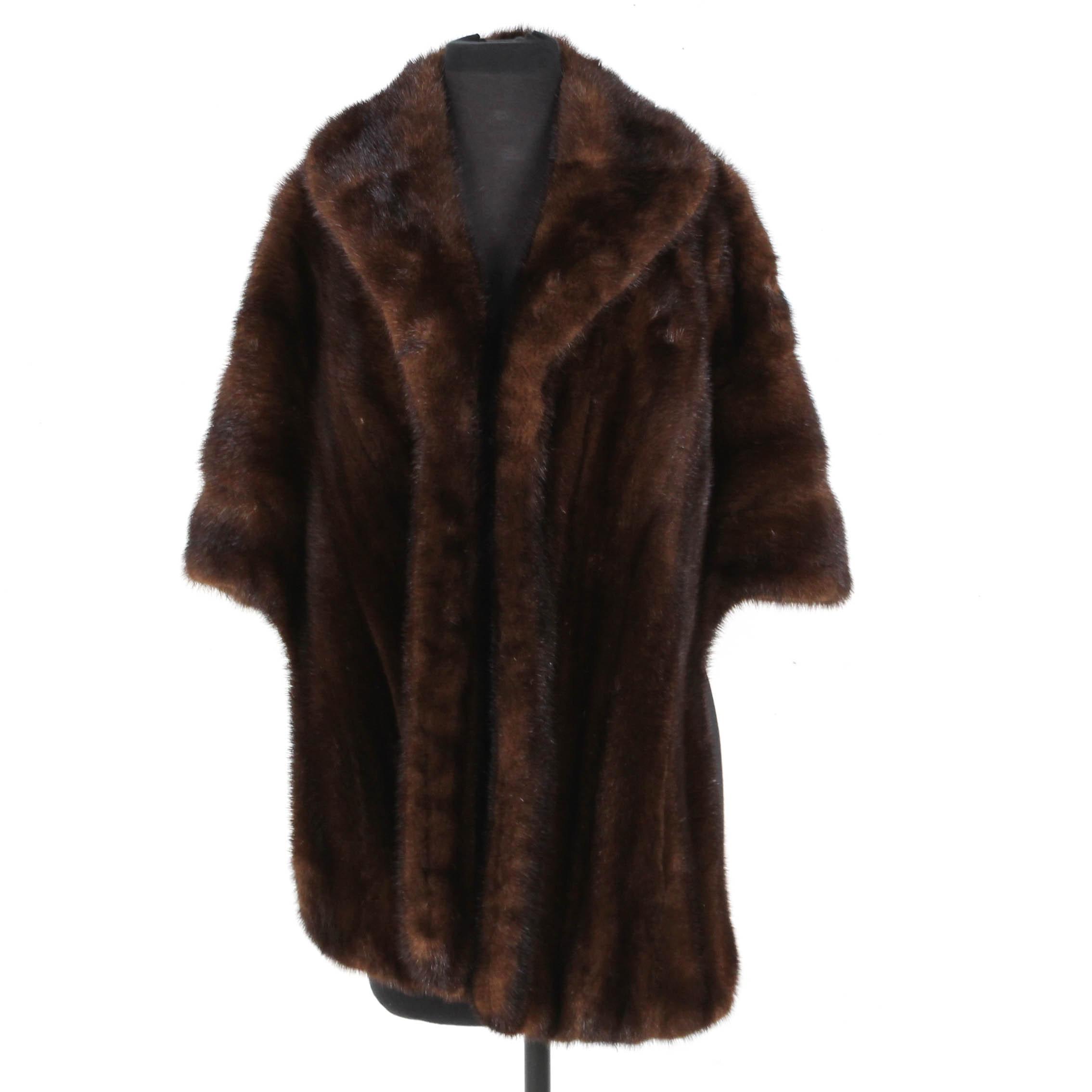 Vintage Mahogany Brown Mink Fur Stole