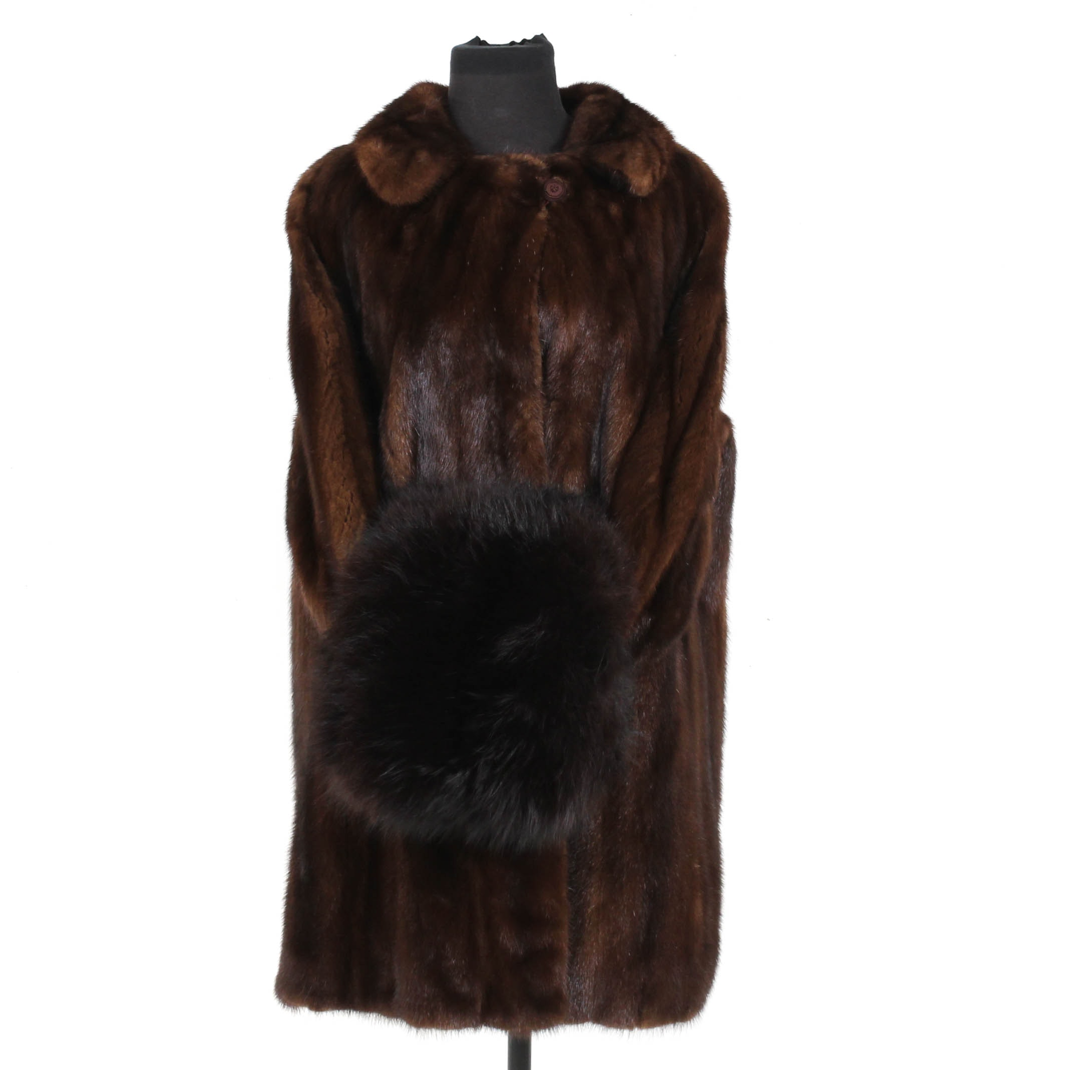 Vintage Mahogany Mink Fur Coat with Black Fox Fur Muff