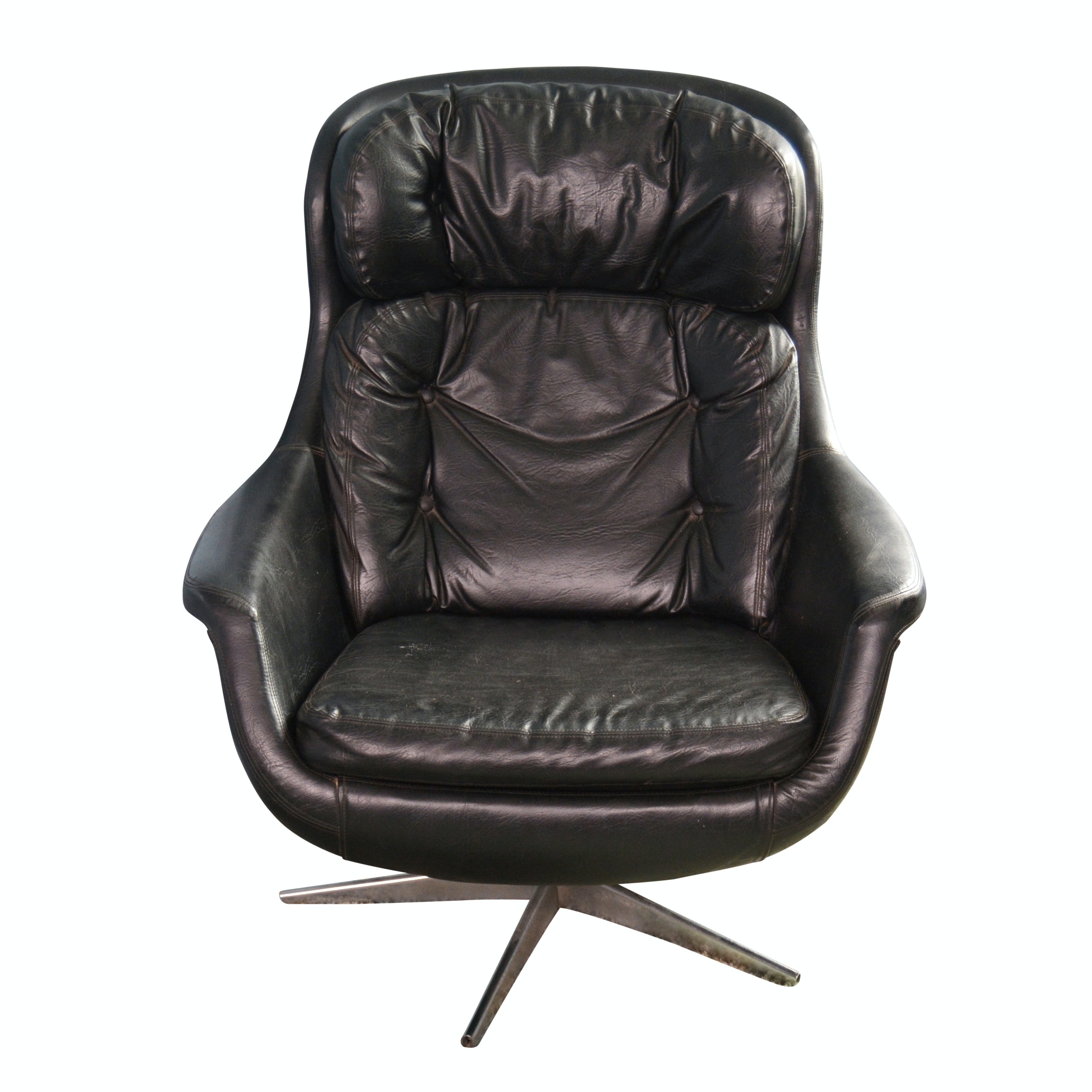 Mid Century Modern Leather Egg Armchair, Mid-20th Century