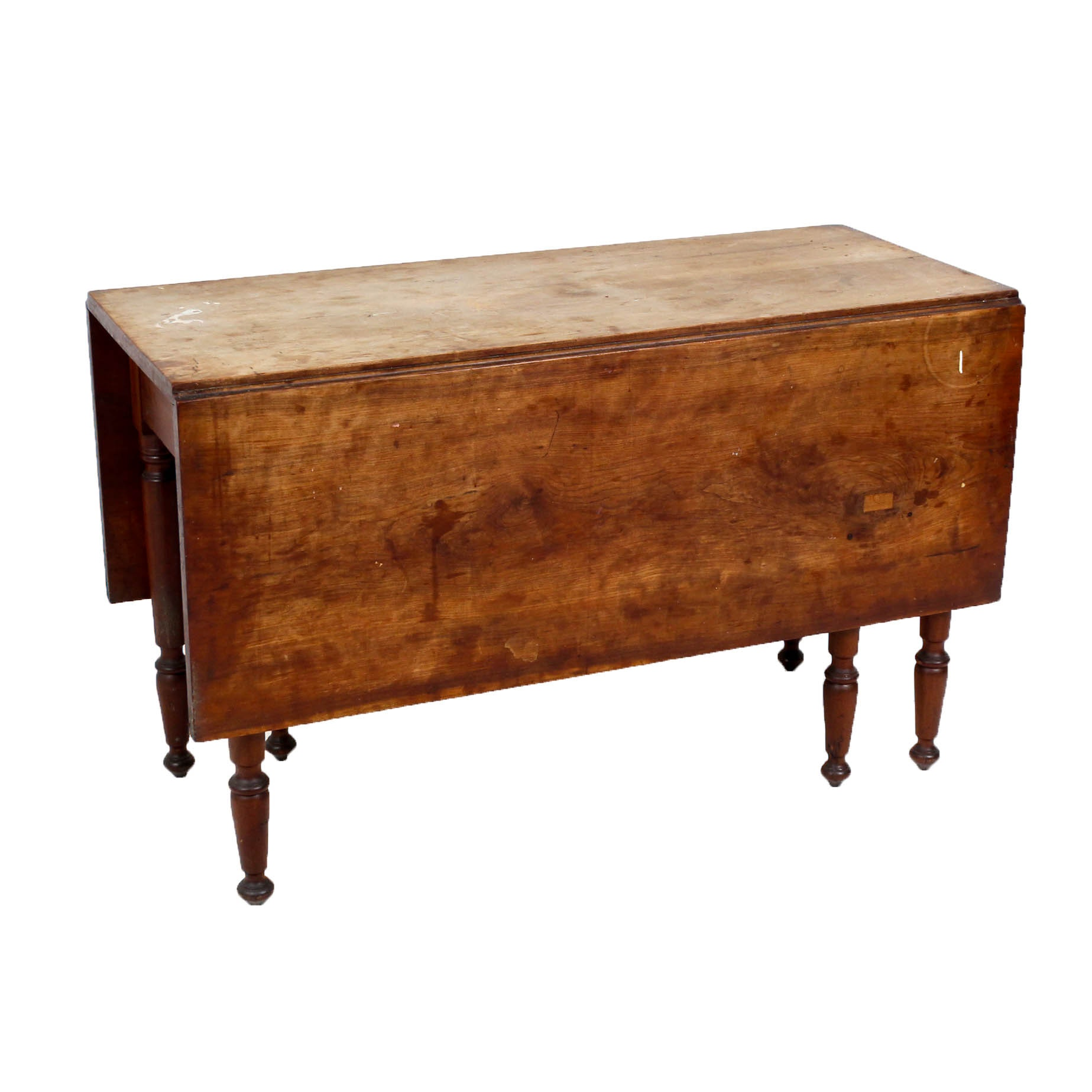Federal Style Walnut Drop Leaf Dining Table, Mid to Late 19th Century