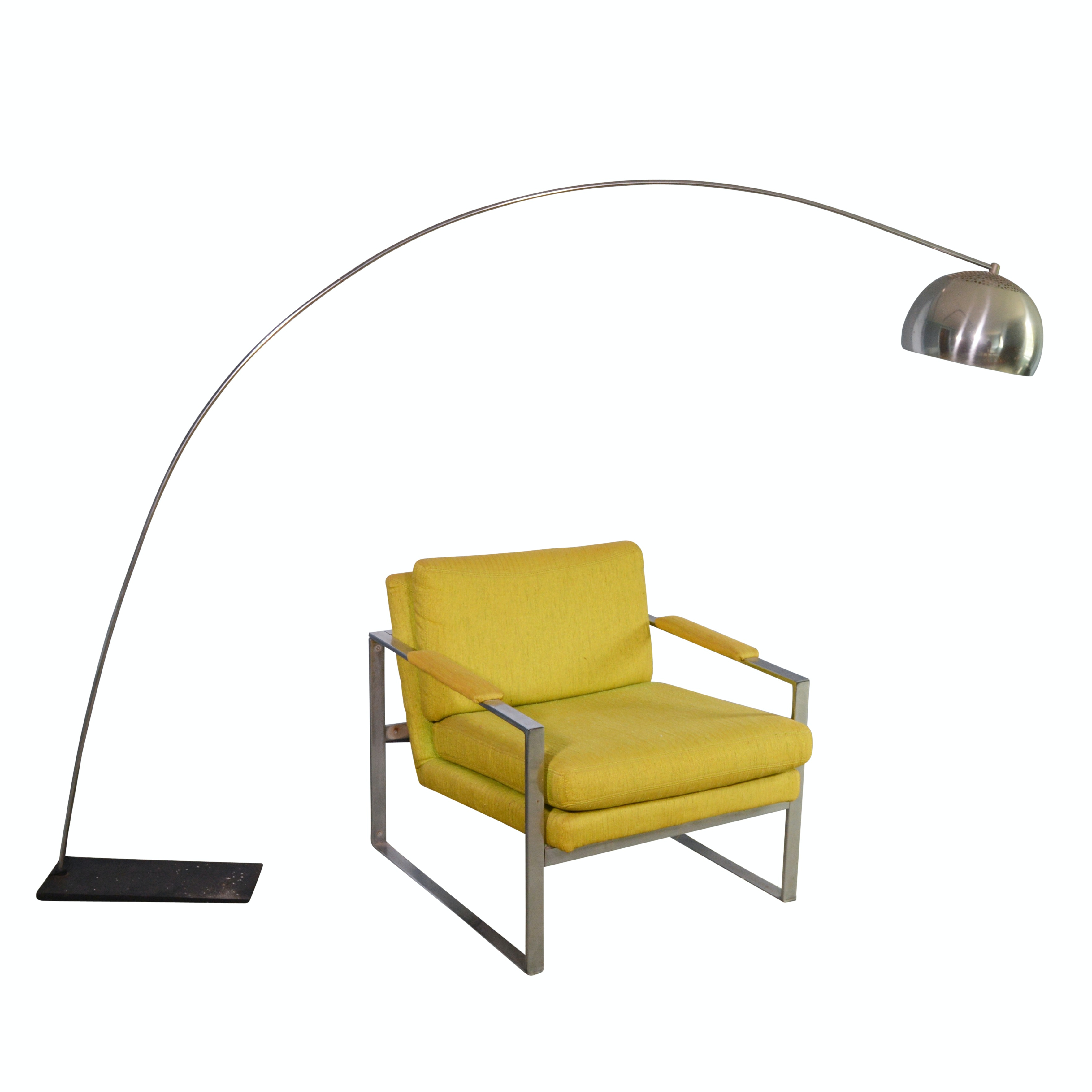 Mid Century Modern Upholstered Metal Armchair & Arc Floor Lamp, Mid-20th Century