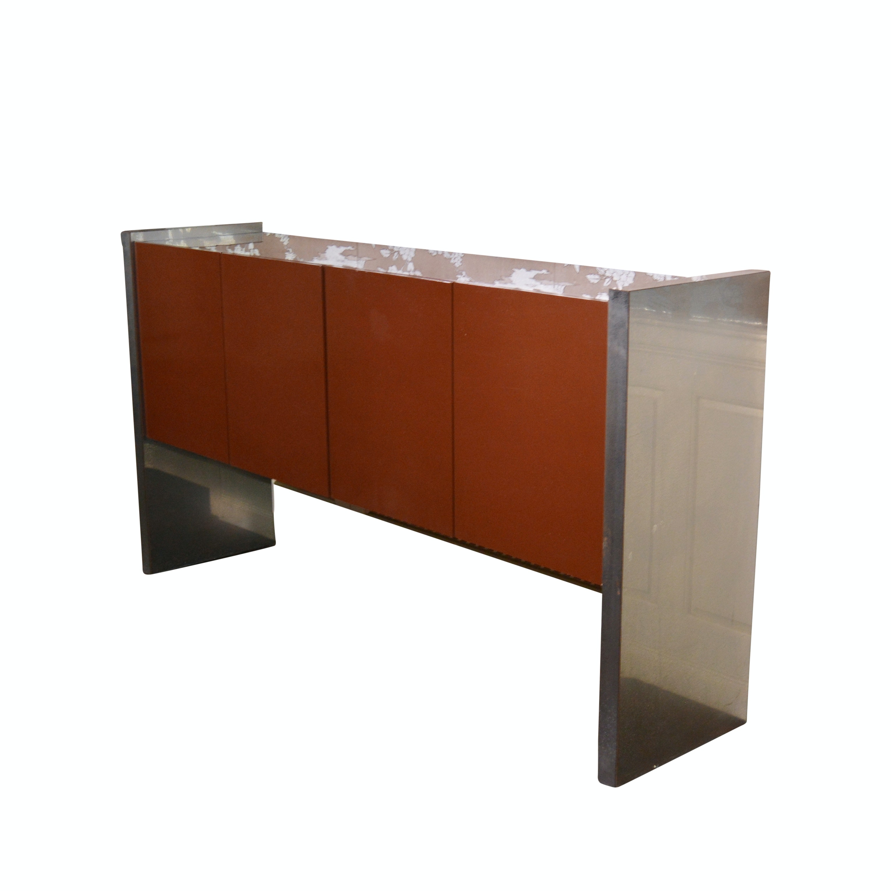 Contemporary Metal and Lacquered Wood Buffet, Mid-20th Century