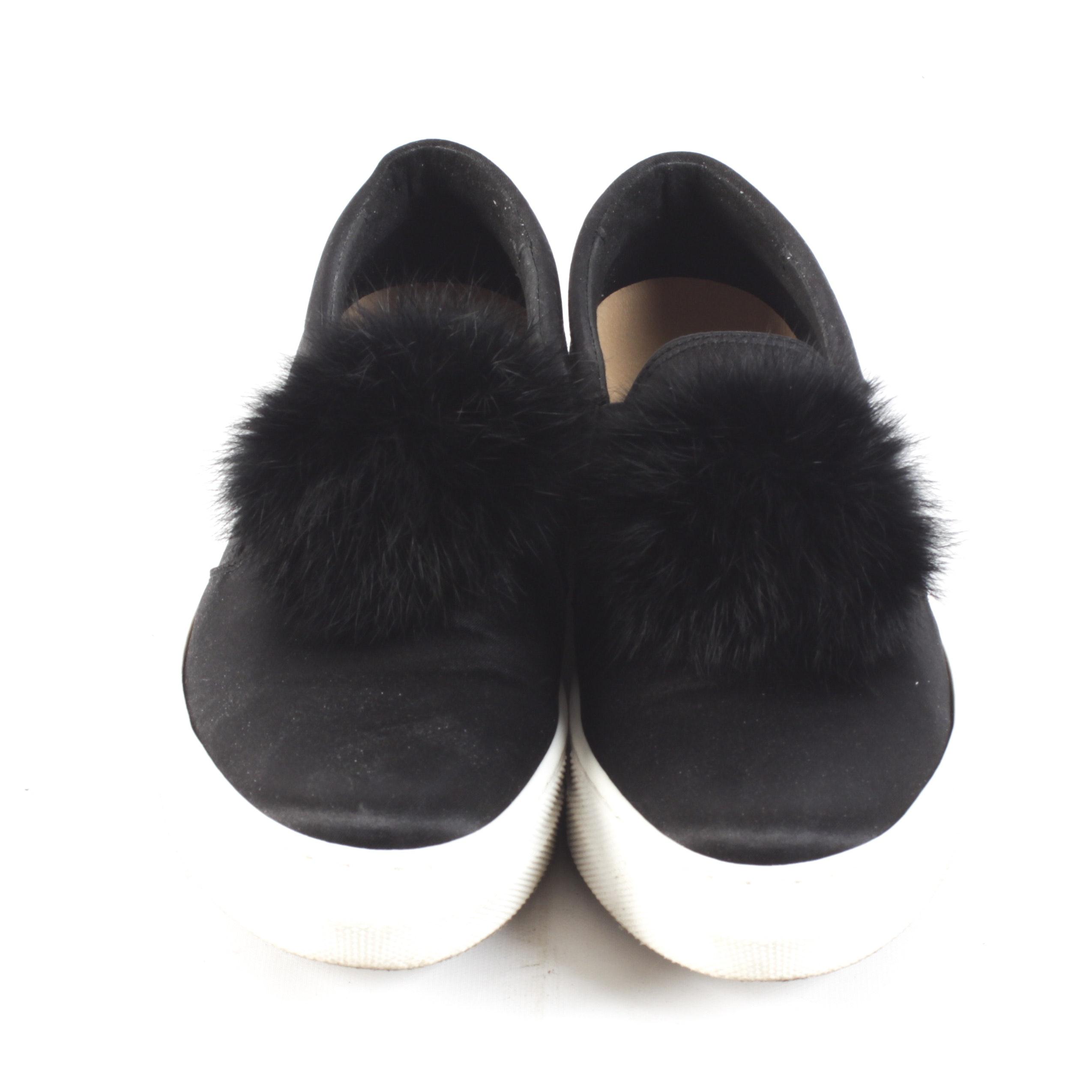 Sesto Meucci Dyed Black Rabbit Fur Pouf Shoes