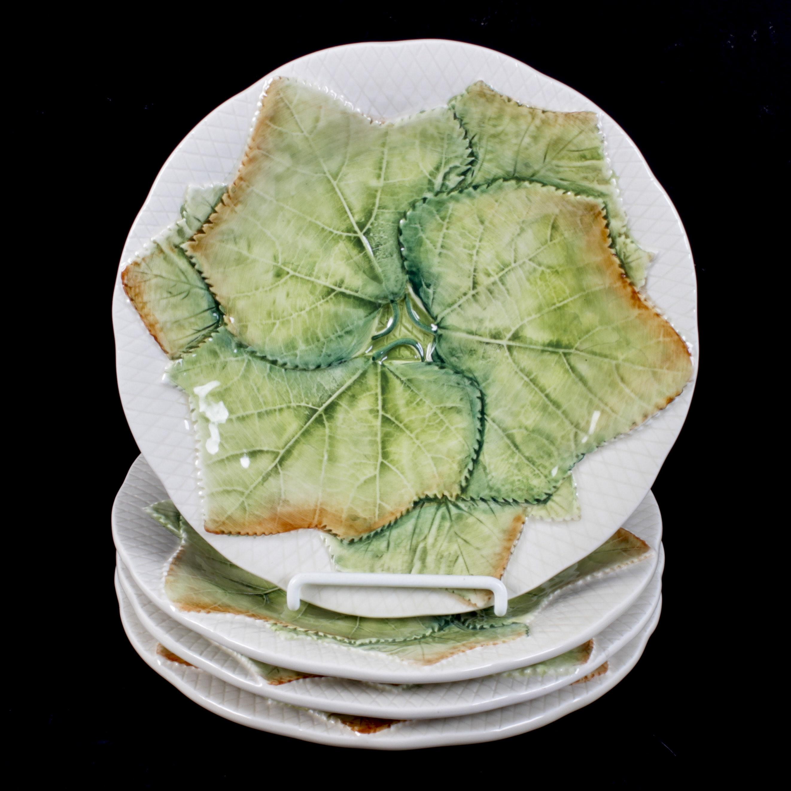 Italian Majolica Earthenware Leaf Plates