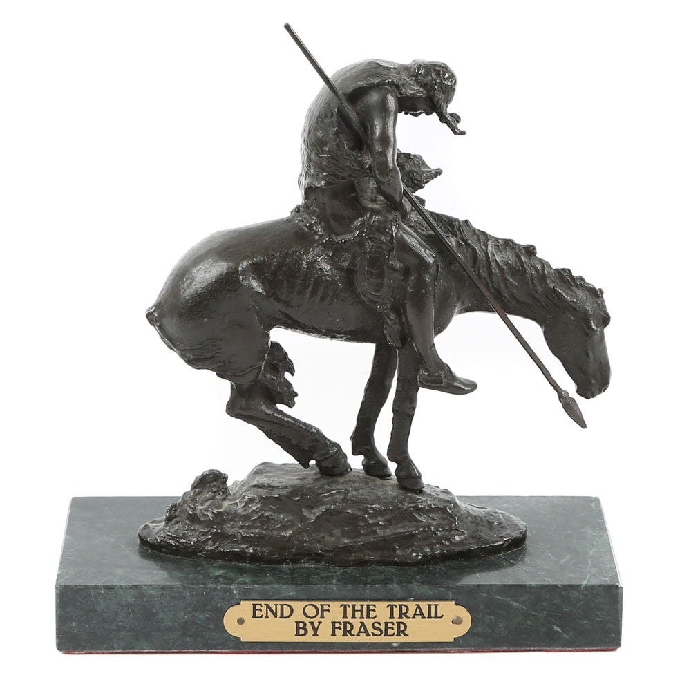 """Reproduction Sculpture After James Earle Fraser """"End of the Trail"""""""