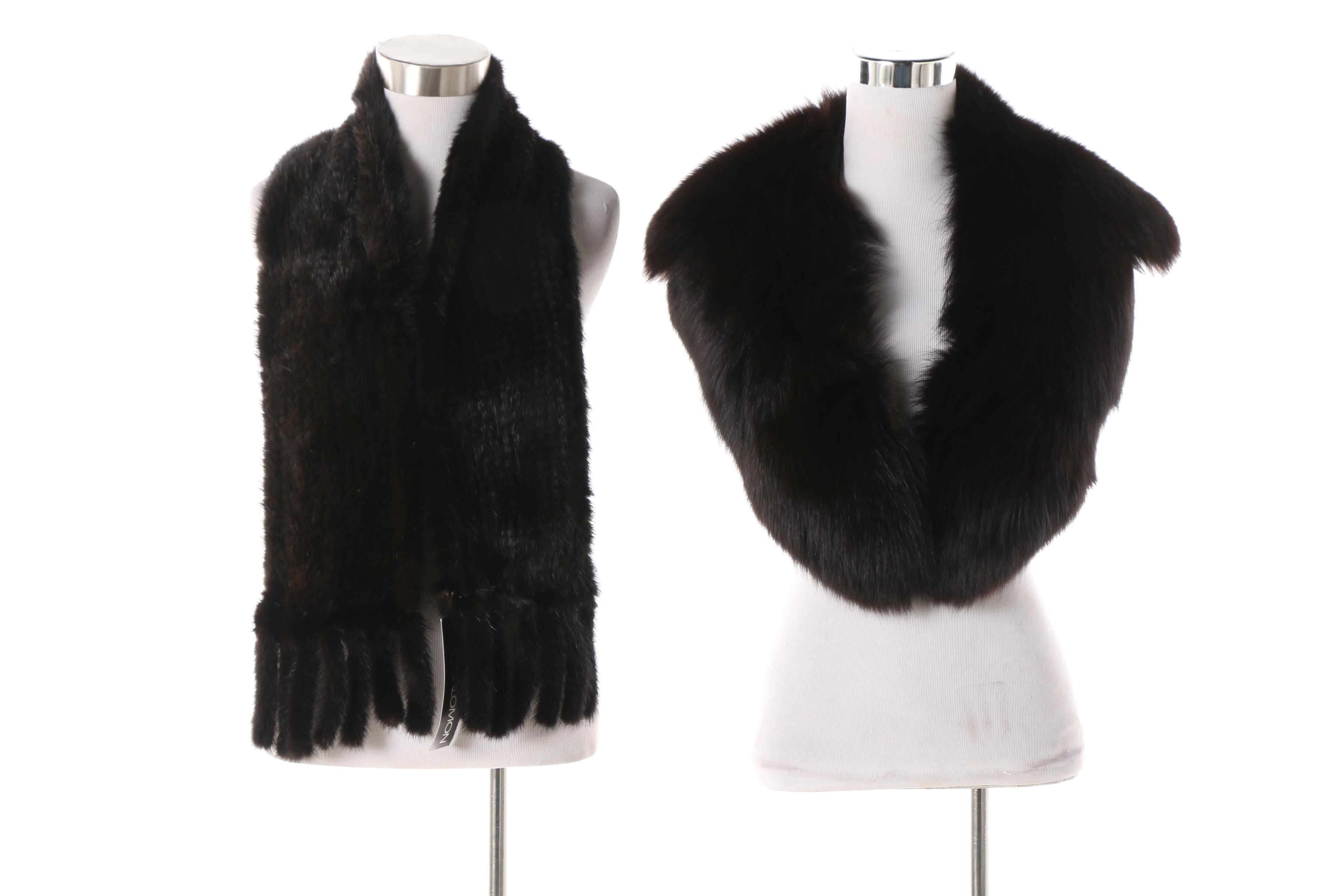 Black Fox Fur Collar with Yves Salomon Knitted Black Rabbit Fur Scarf