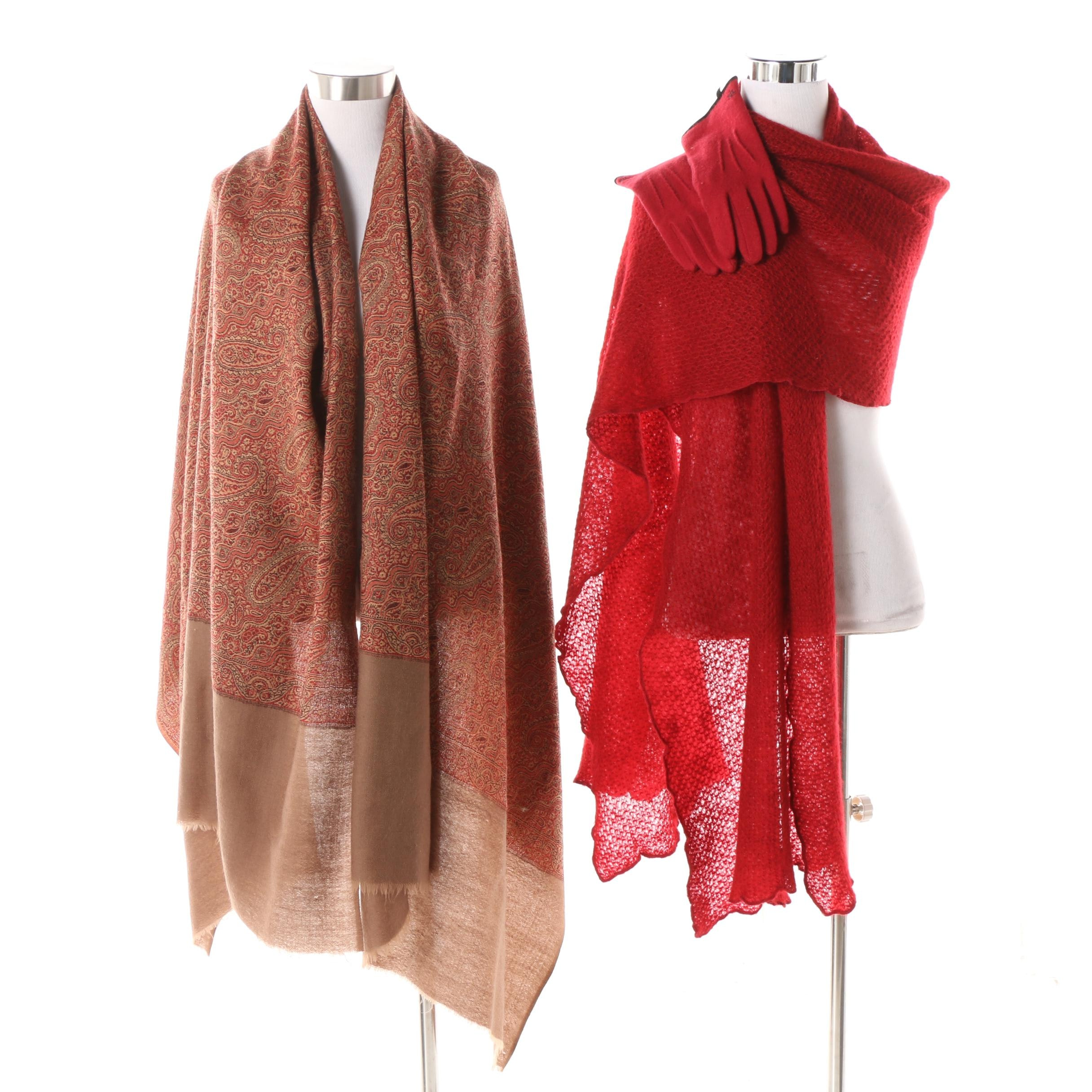 Lauren Ralph Lauren Red Knit Wrap and Wool Blend Gloves with Paisley Print Shawl