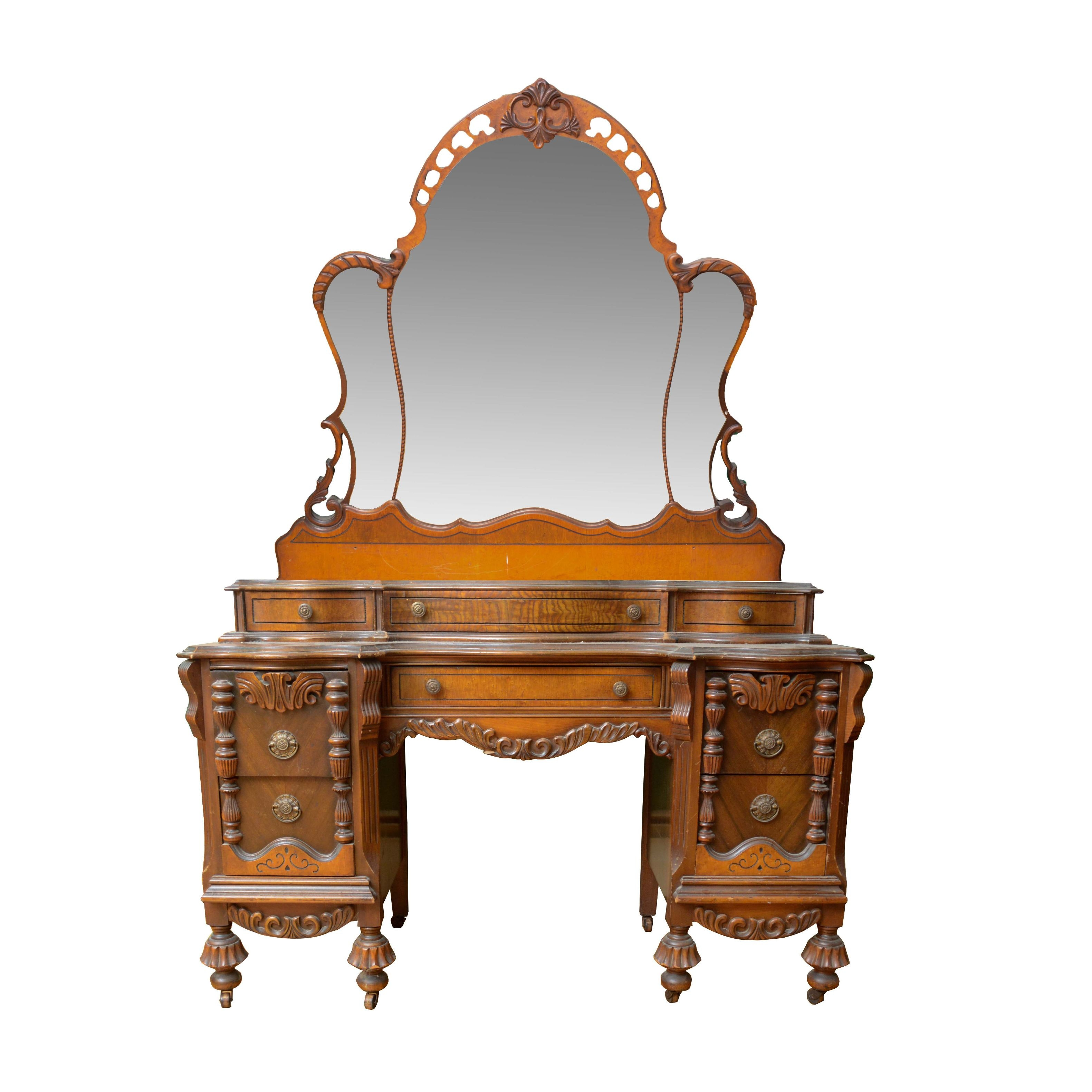 Jacobean Revival Style Vanity with Mirror, Early 20th Century