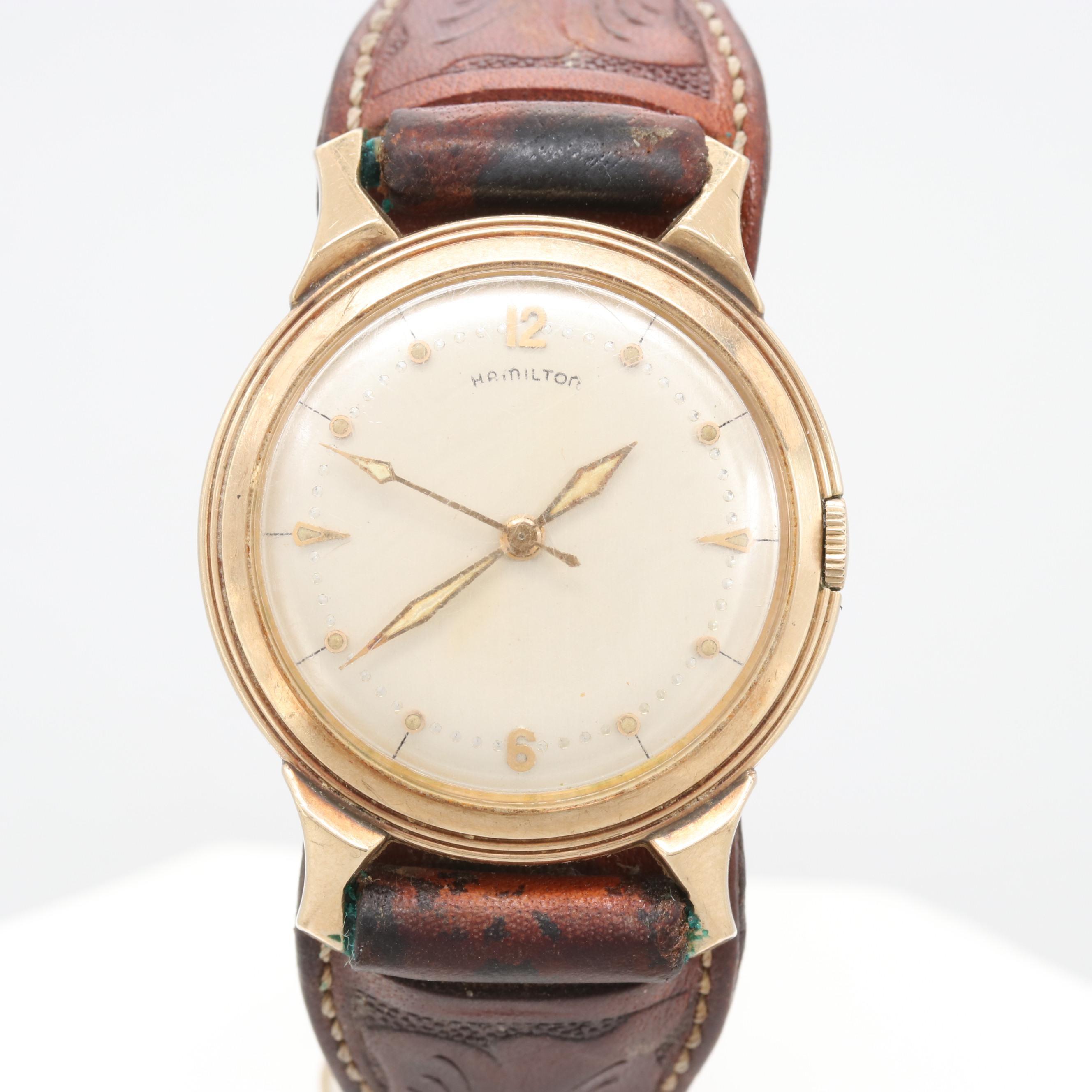 Hamilton Gold Tone Wristwatch With Cuff Style Bracelet