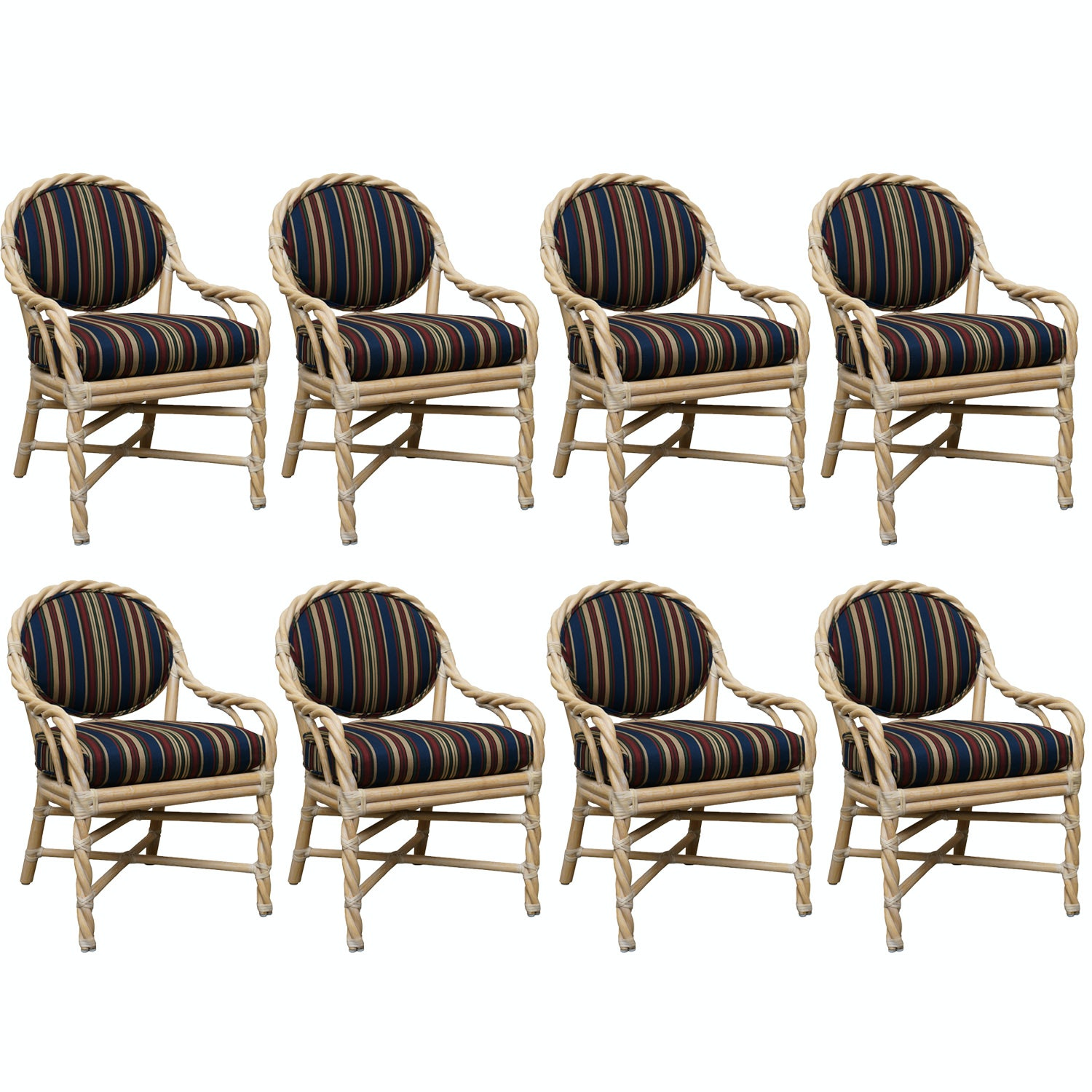 Set of Rattan Style Upholstered Chairs