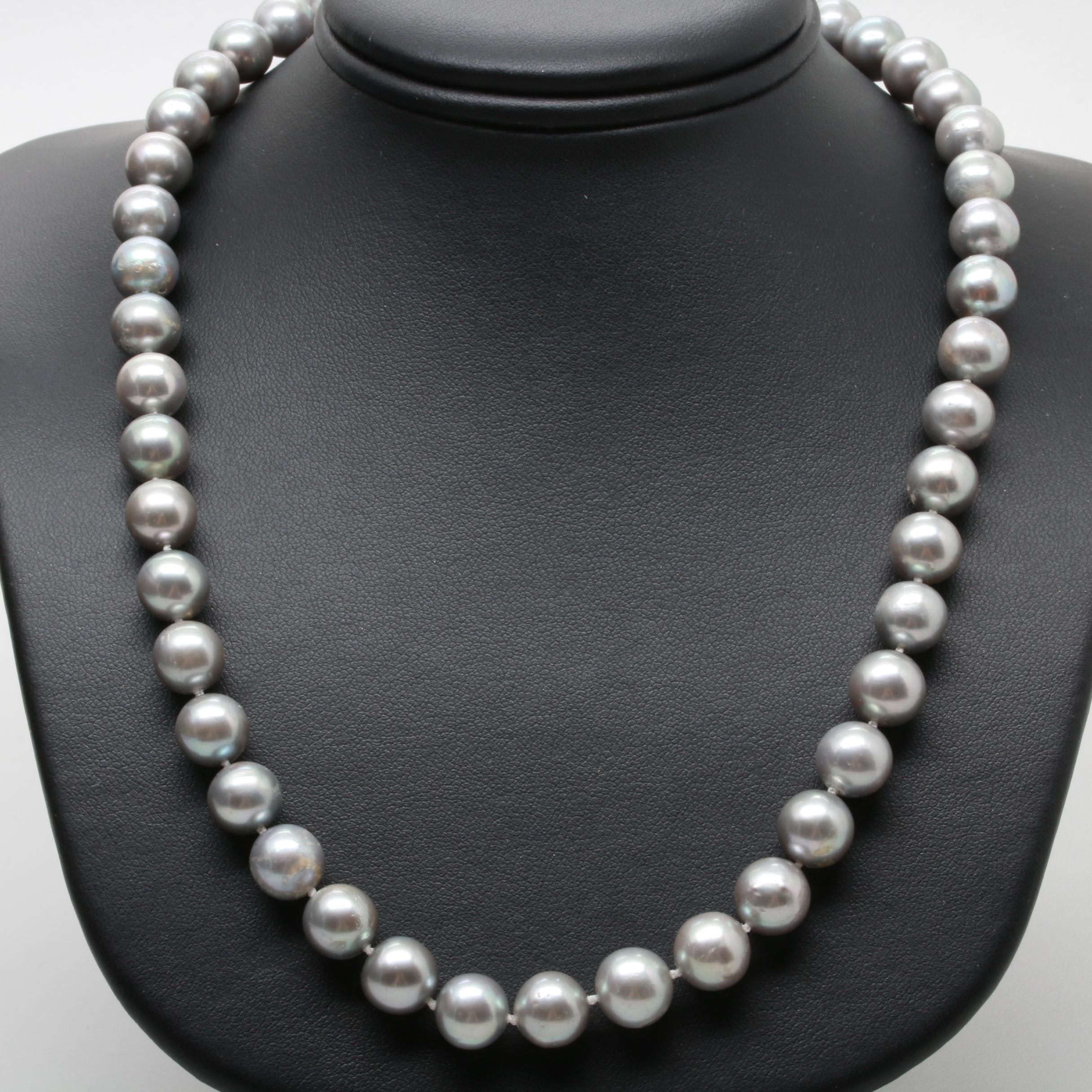 10K Yellow Gold Cultured Pearl Single Strand Necklace