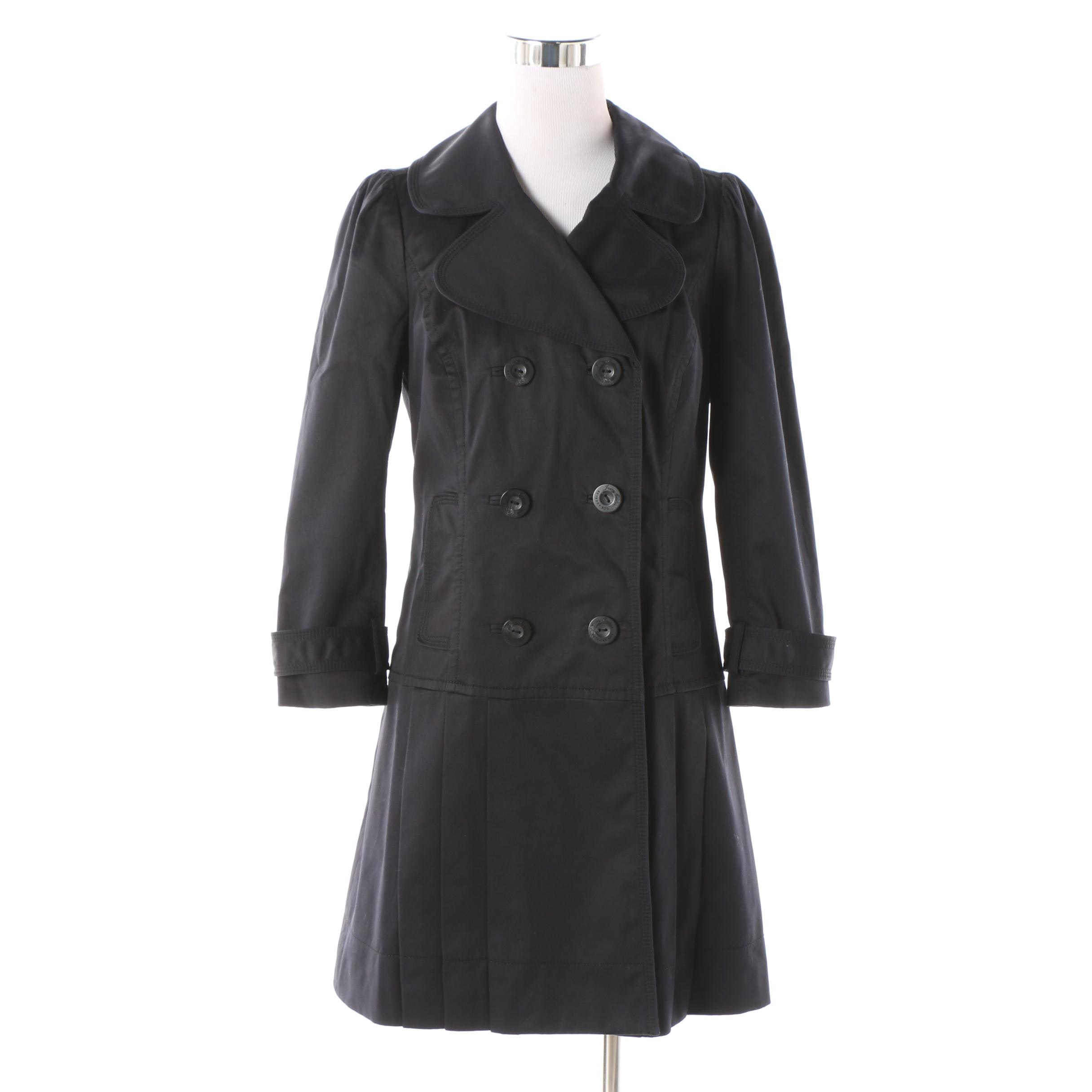Women's Juicy Couture Black Cotton Blend Double-Breasted Raincoat