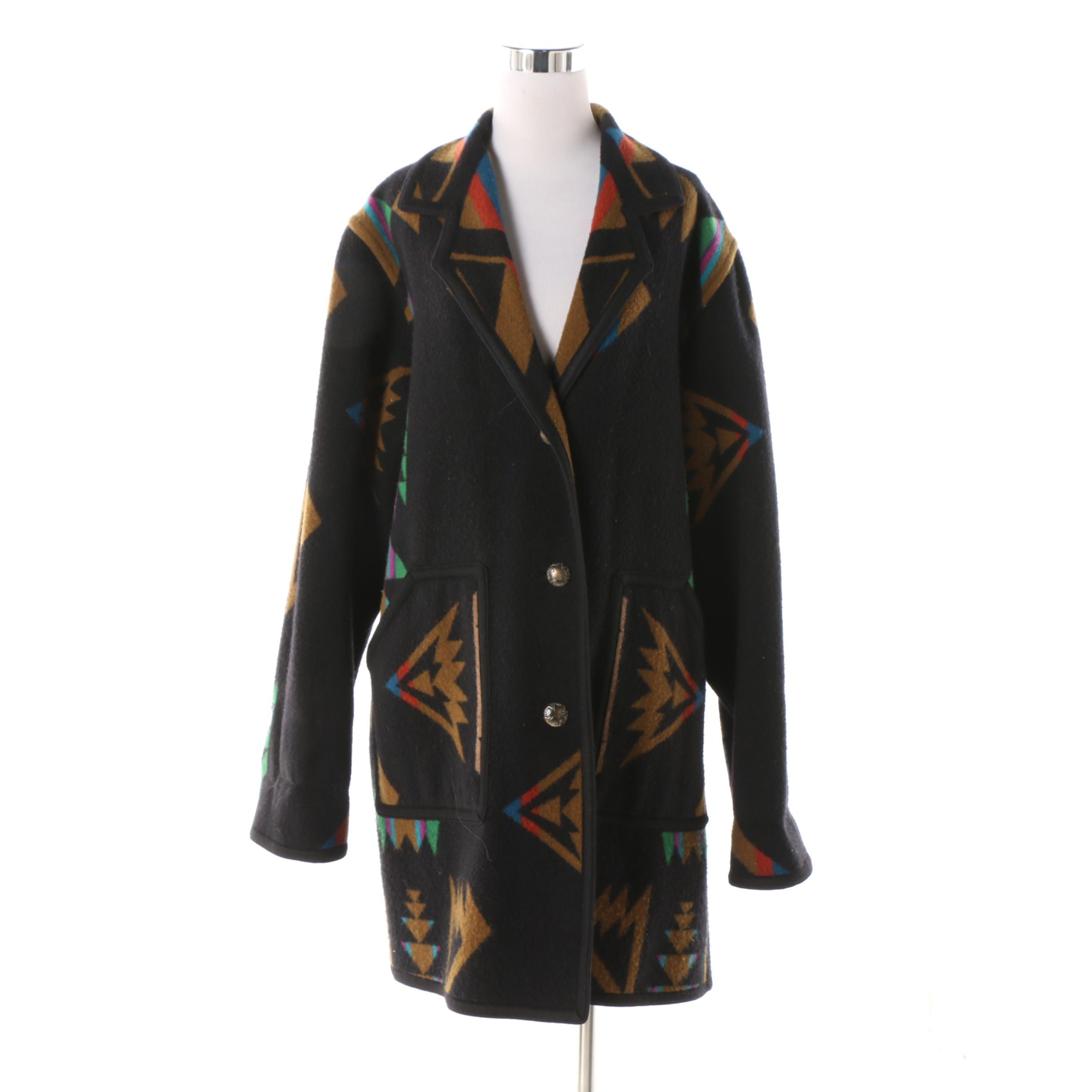 Women's Circa 1990 Multicolored Wool Blend Southwest Style Reversible Coat