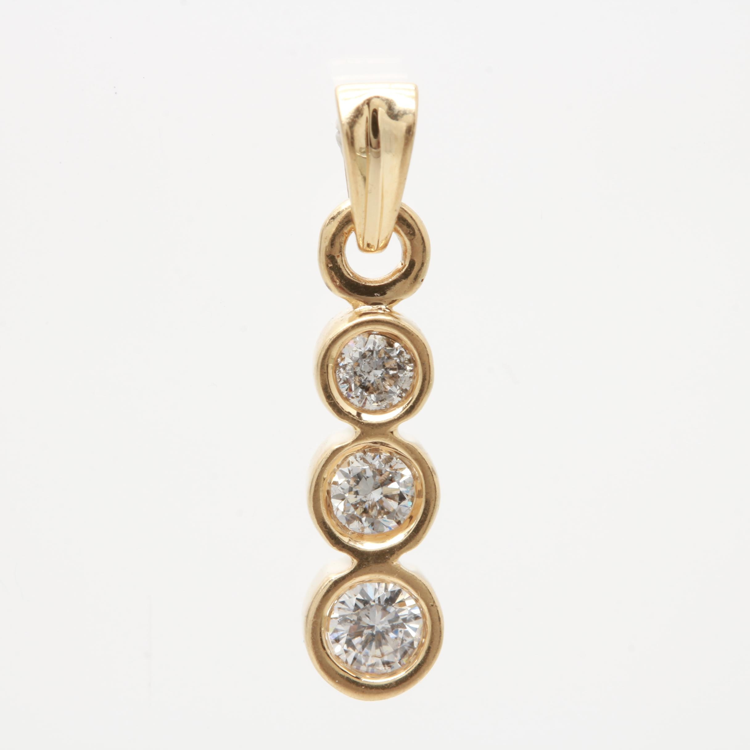 14K Yellow Gold Diamond Three Stone Pendant