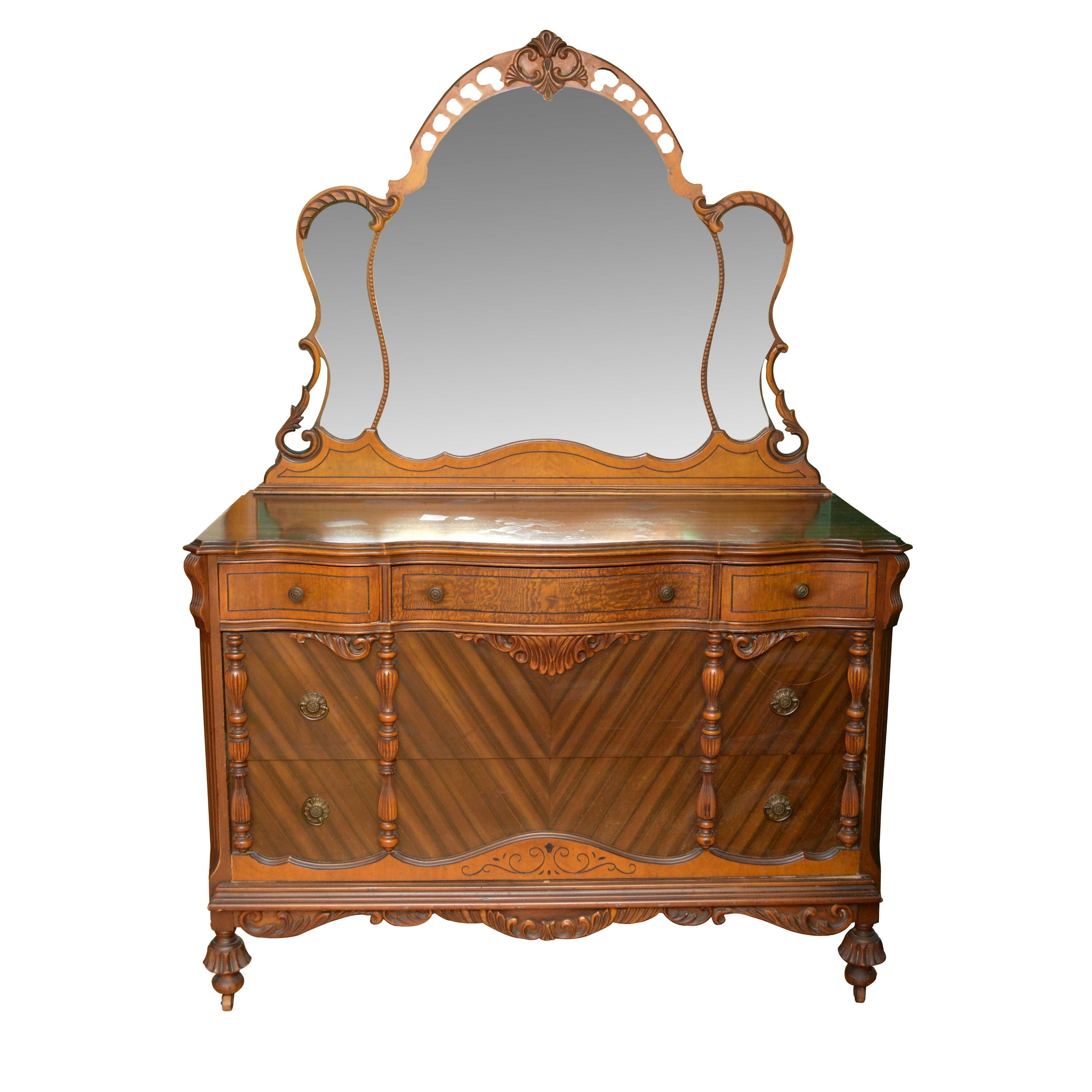 Jacobean Revival Style Dresser with Mirror, Early 20th Century