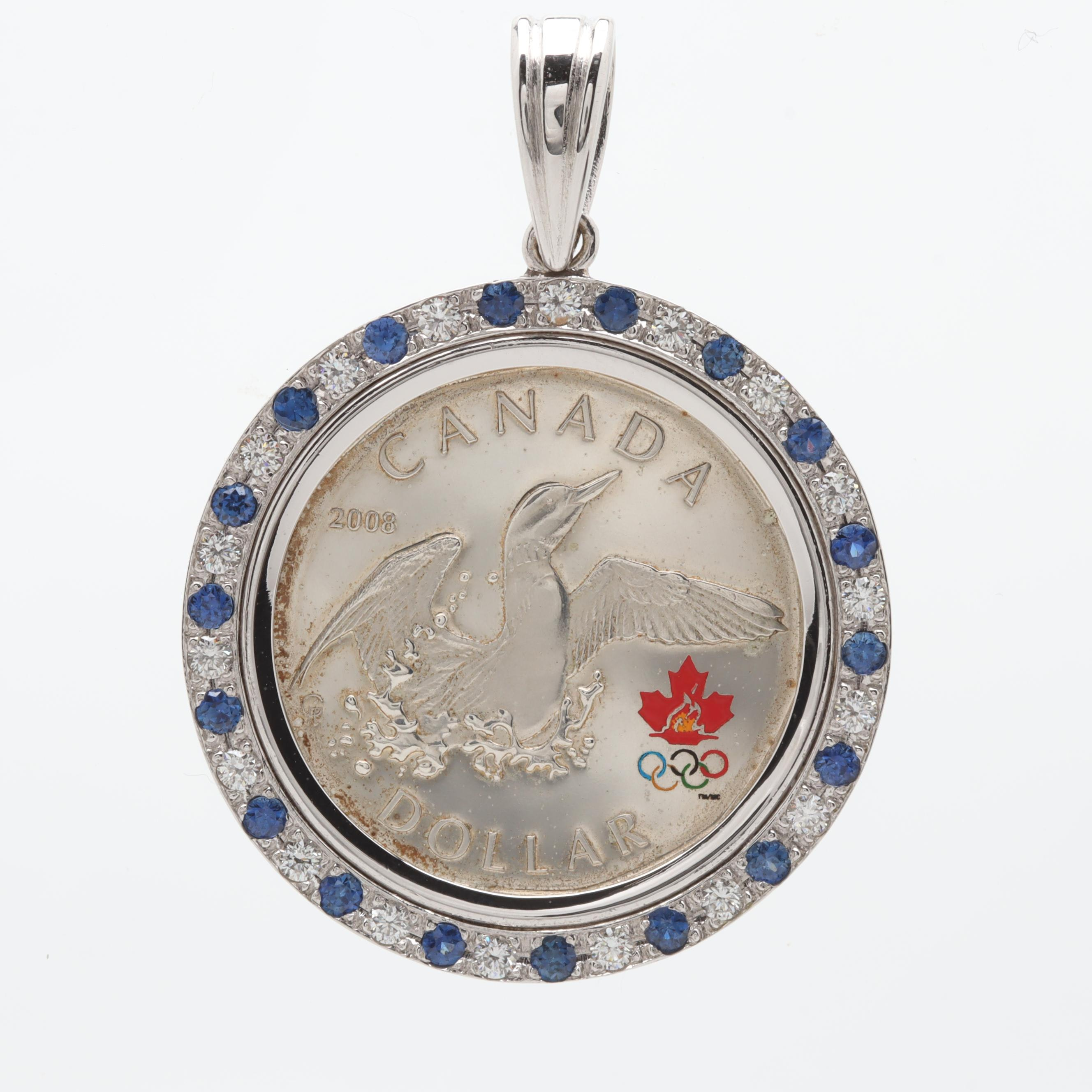 14K White Gold Diamond and Sapphire Pendant and Canadian Sterling Olympic Dollar