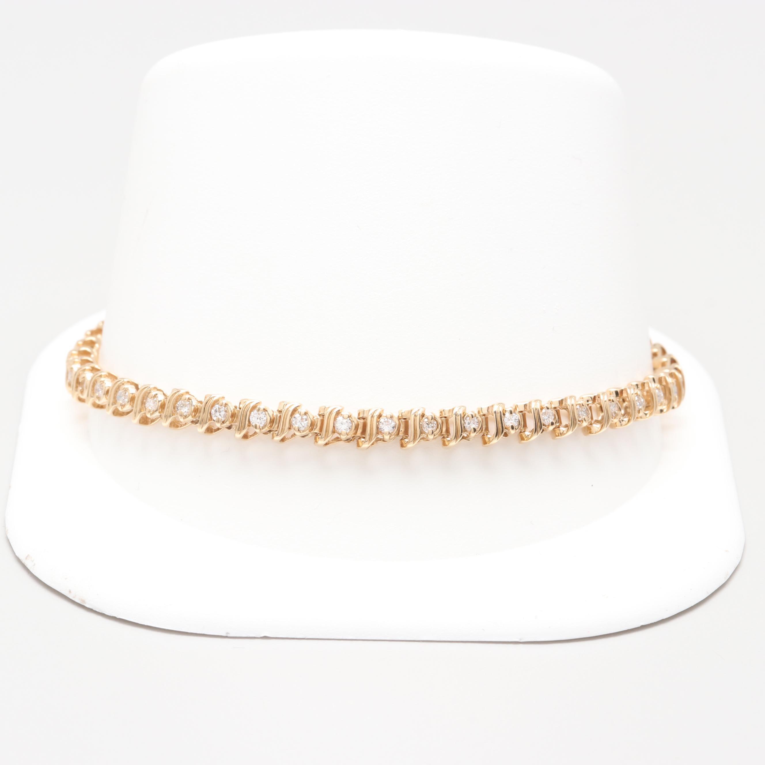 14K Yellow Gold 1.05 CTW Diamond Tennis Bracelet