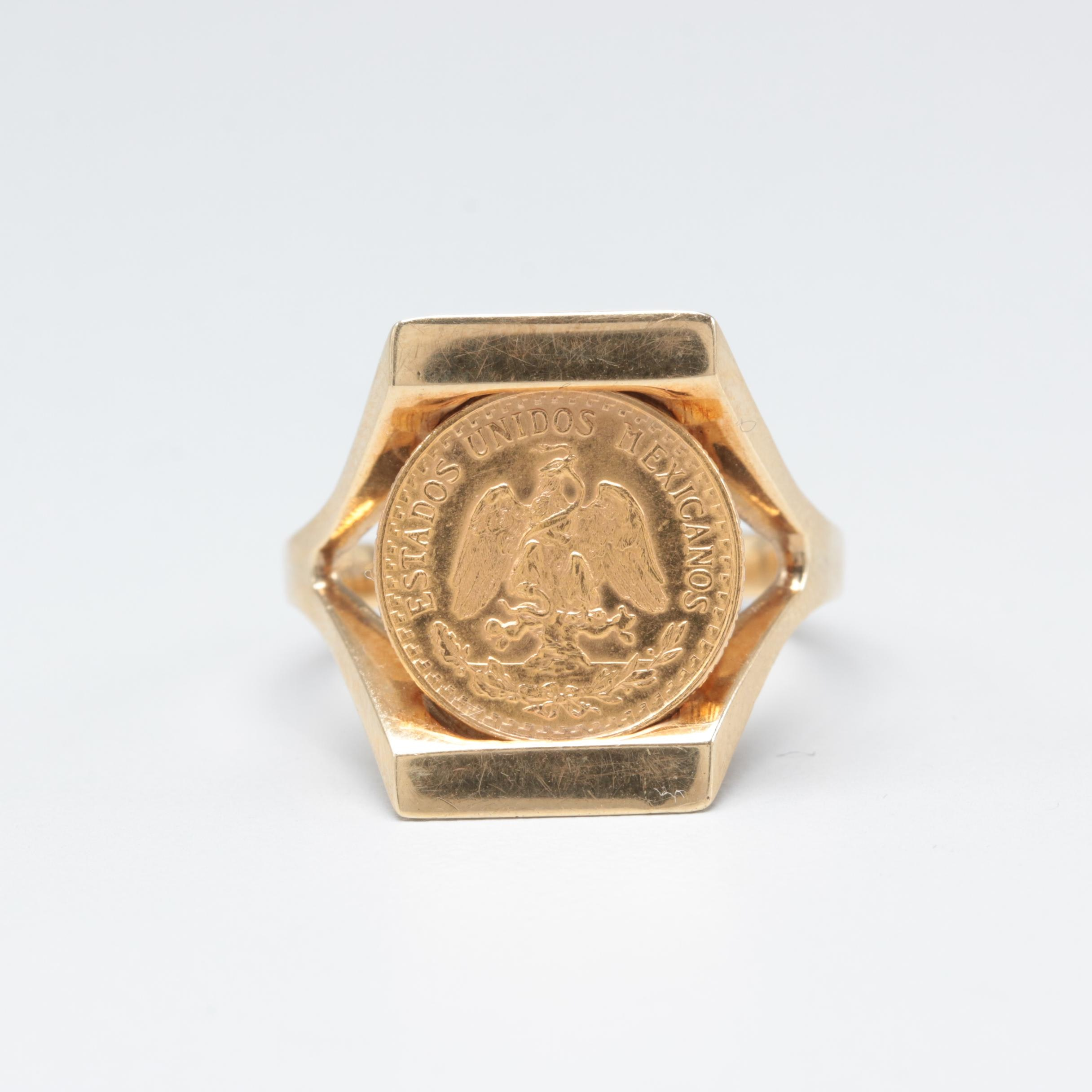 14K Yellow Gold Ring with a 1945 Mexico Two Pesos 22K Gold Coin