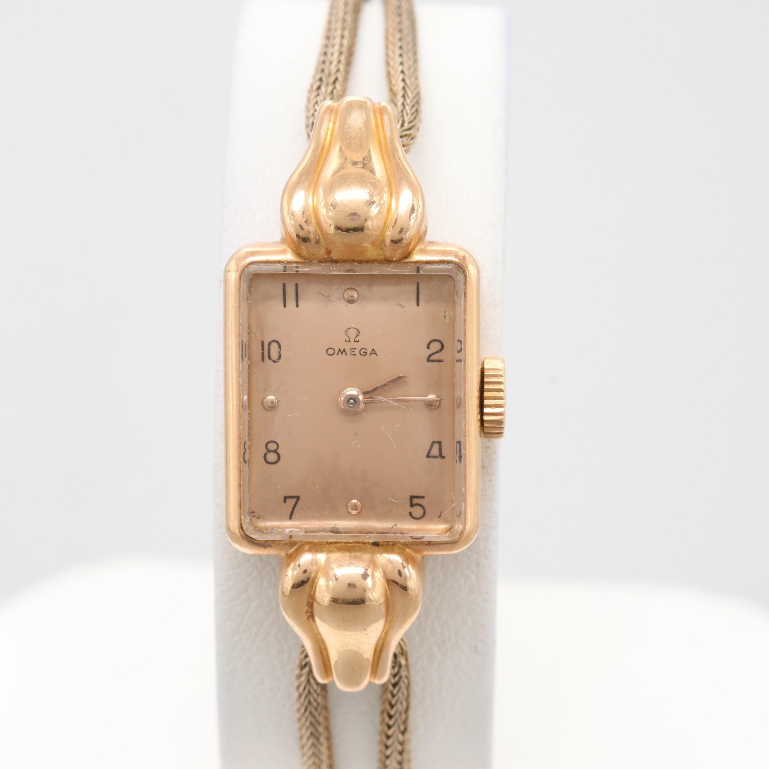 Omega 18K Yellow Gold Stem Wind Wristwatch