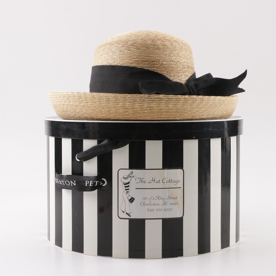 93bac05babe1a Peter Beaton of Nantucket Woven Straw Hat with Black Grosgrain Band   EBTH