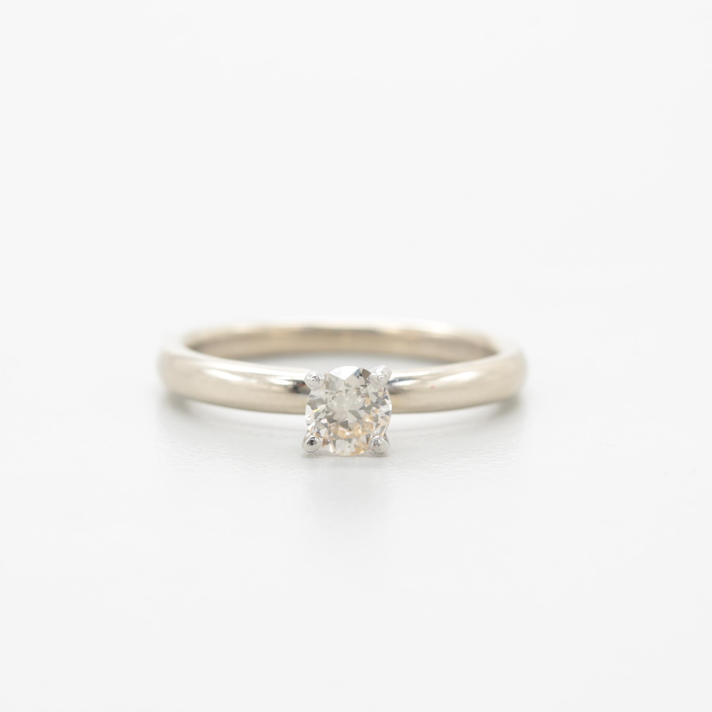 14K White Gold Diamond Ring with Platinum Accents