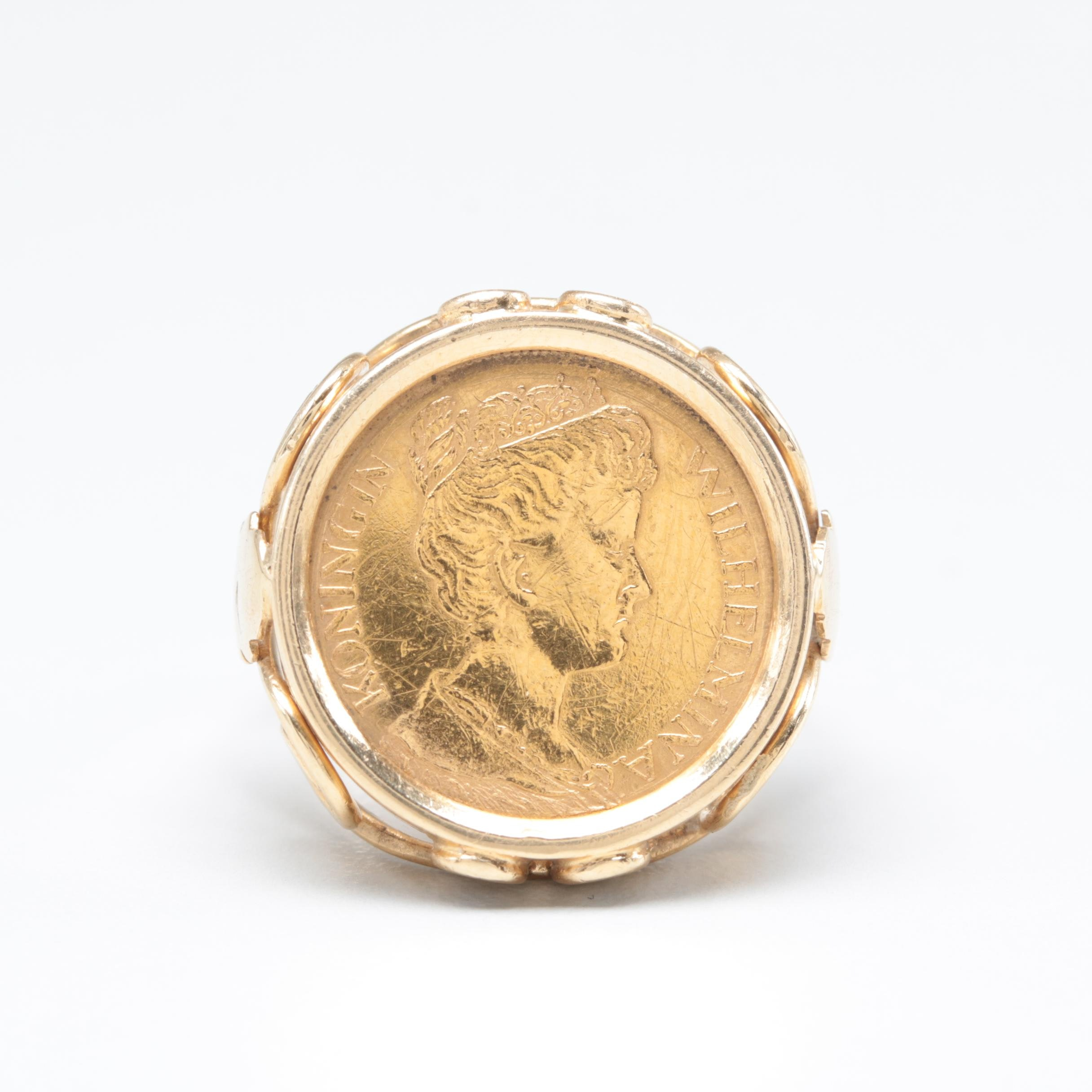 14K Yellow Gold Ring with a 1912 Netherlands Five Gulden 22K Gold Coin