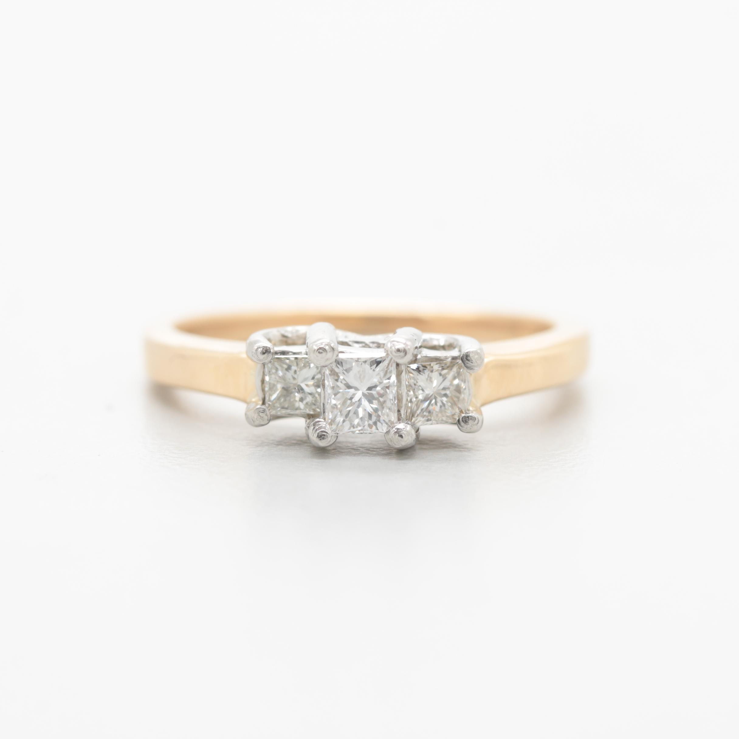 14K Yellow Gold Diamond Ring with Platinum Accents