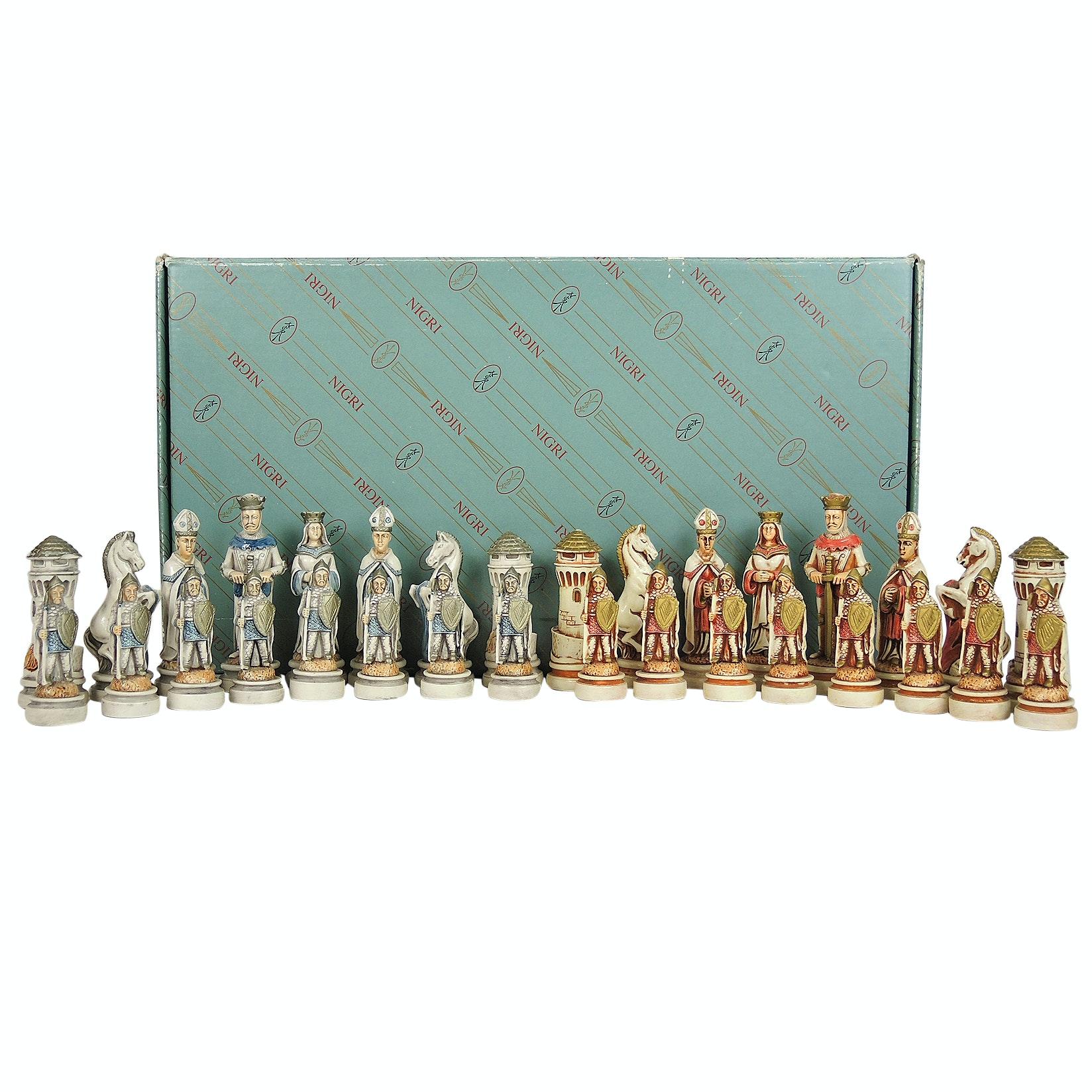 "Hand Painted Italian Nigri ""Romana Barbara"" 32-Piece Chess Set"