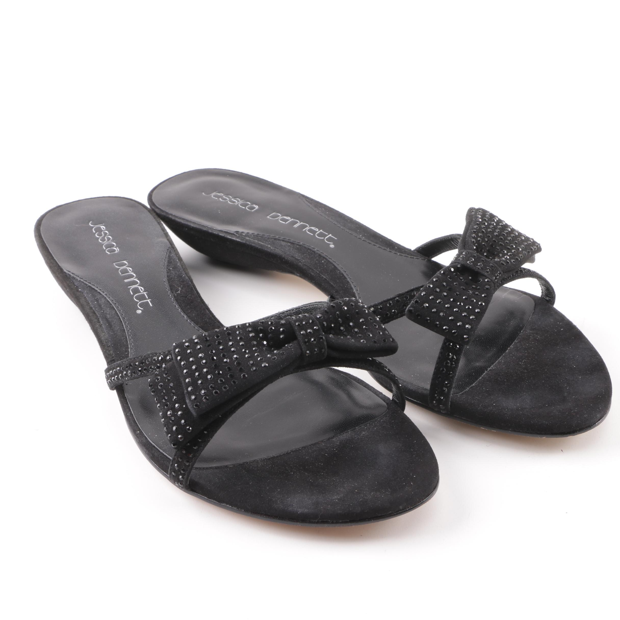 Jessica Bennett Black Suede Sandals with Flat Bow and Rhinestone Embellishments