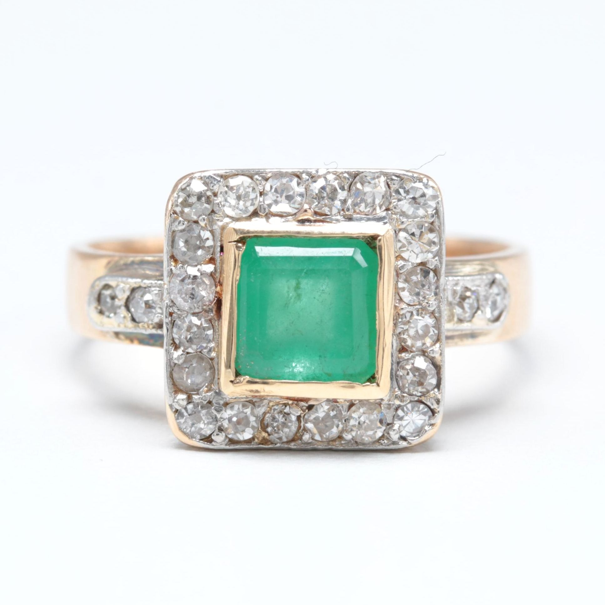 14K Yellow Gold 1.07 CT Emerald and Diamond Ring