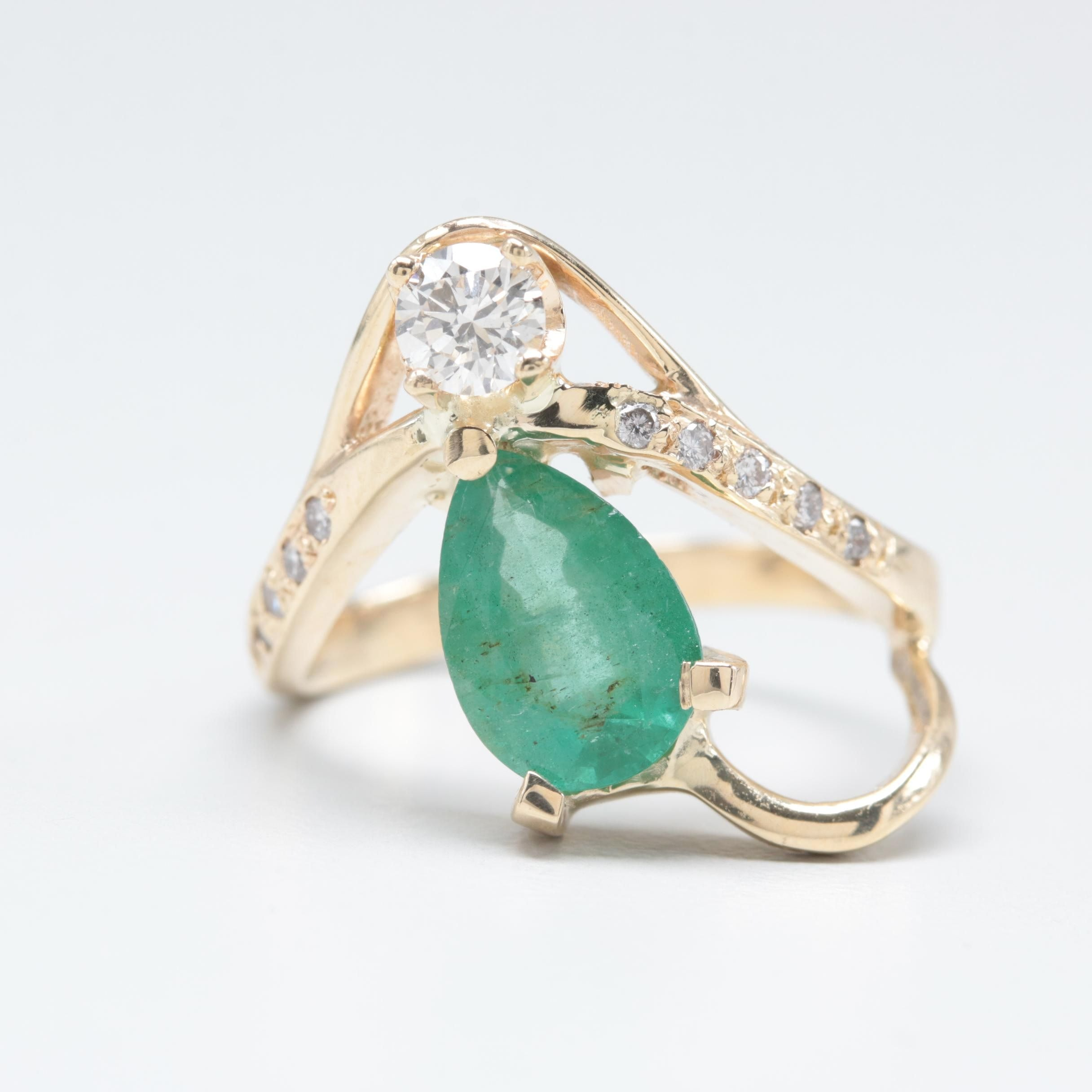 14K Yellow Gold 1.17 CT Emerald and Diamond Ring