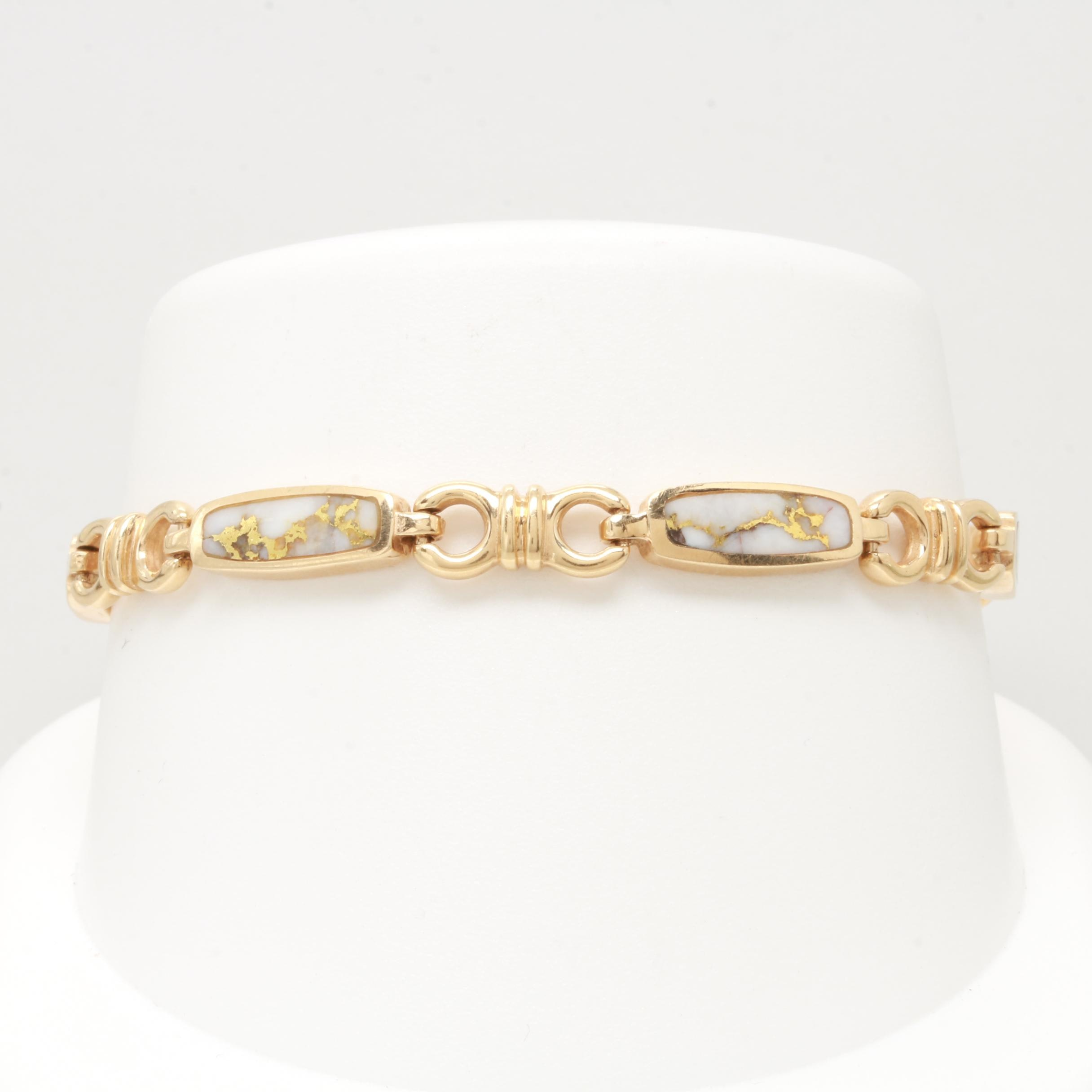 14K Yellow Gold Native Gold in Quartz Bracelet
